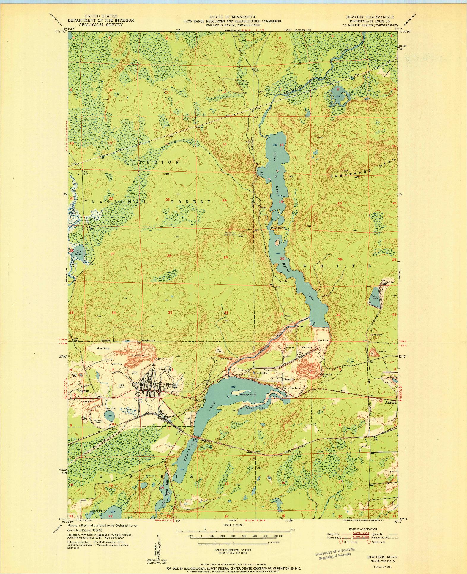 USGS 1:24000-SCALE QUADRANGLE FOR BIWABIK, MN 1951