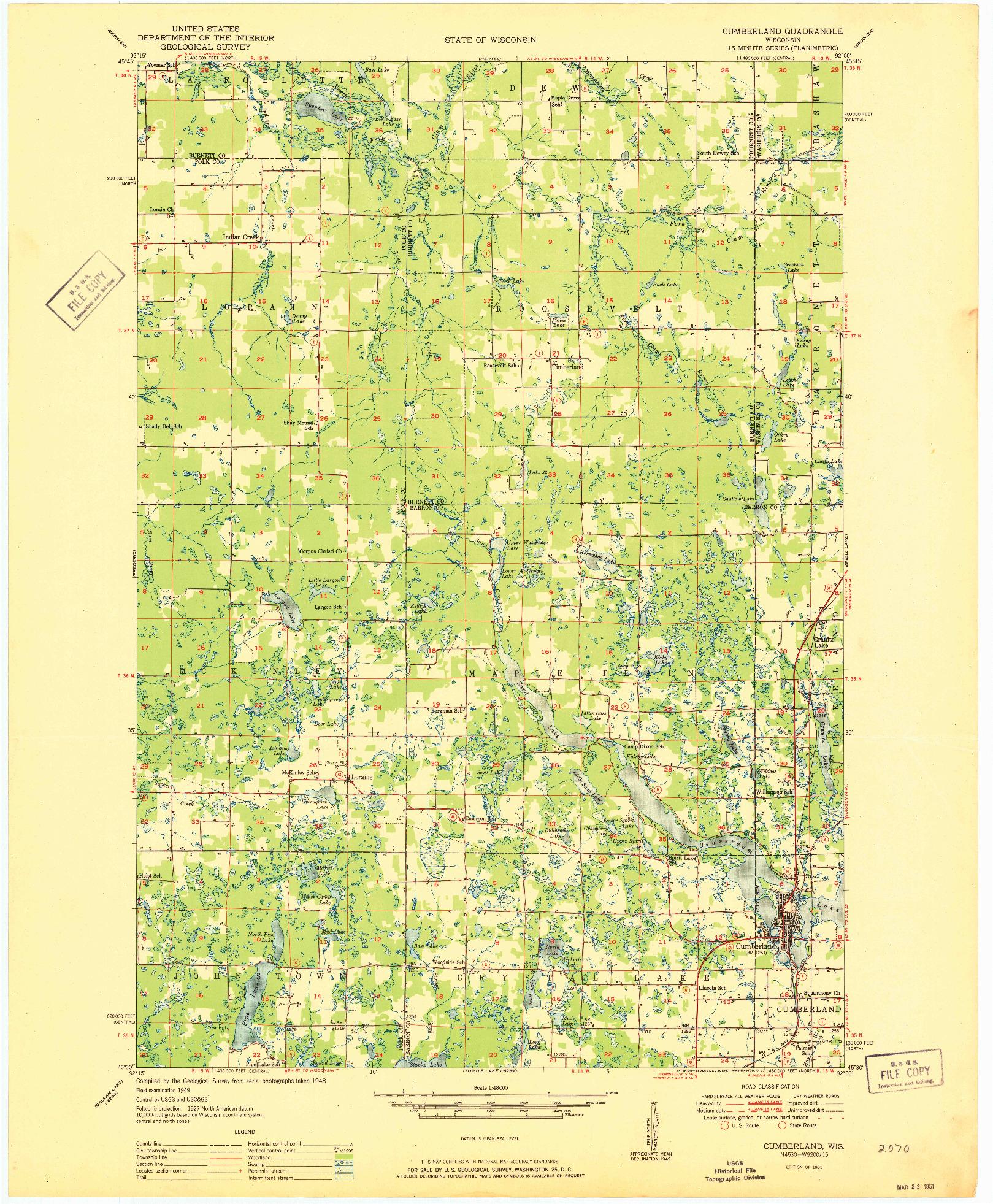 USGS 1:48000-SCALE QUADRANGLE FOR CUMBERLAND, WI 1951