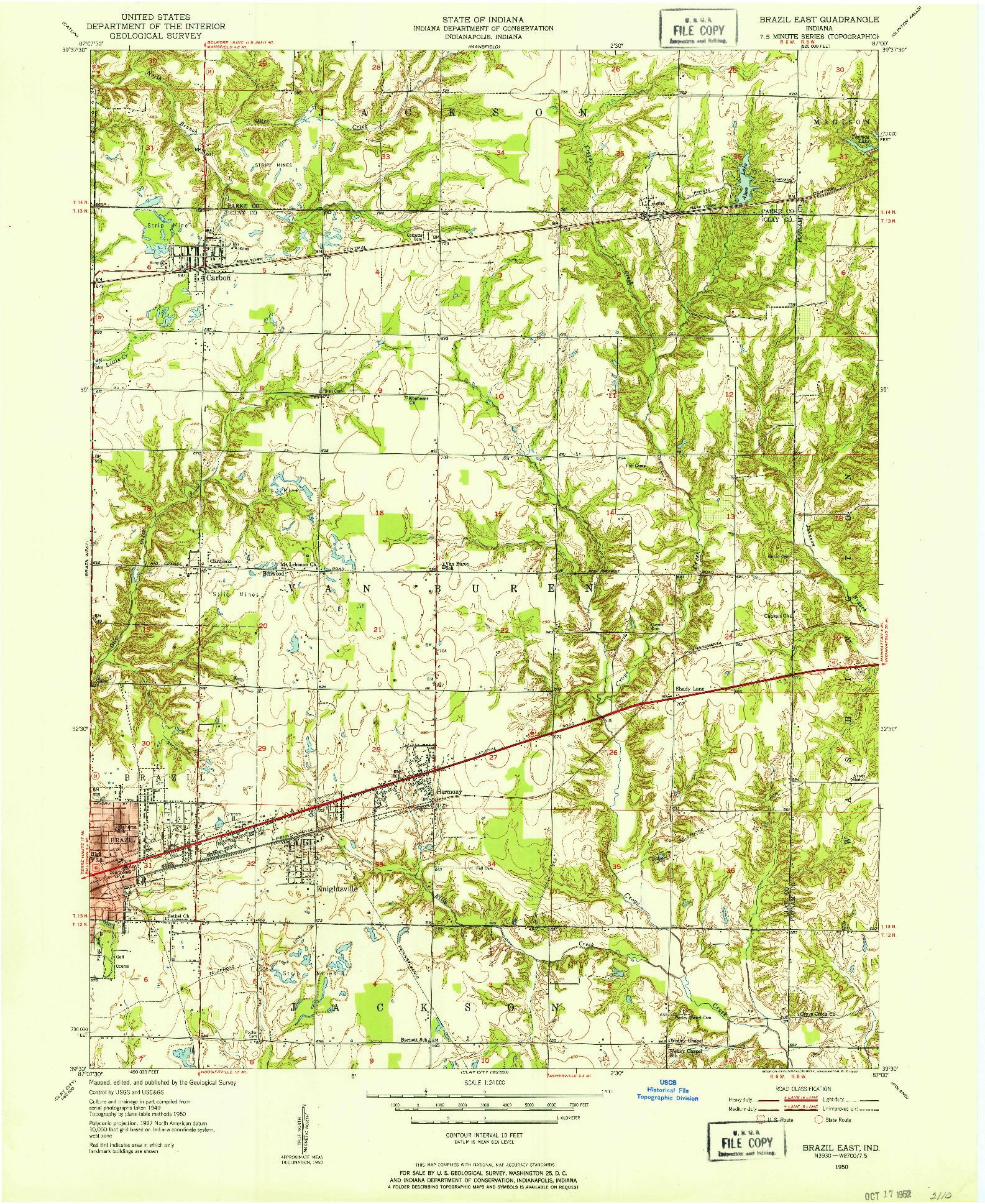 USGS 1:24000-SCALE QUADRANGLE FOR BRAZIL EAST, IN 1950