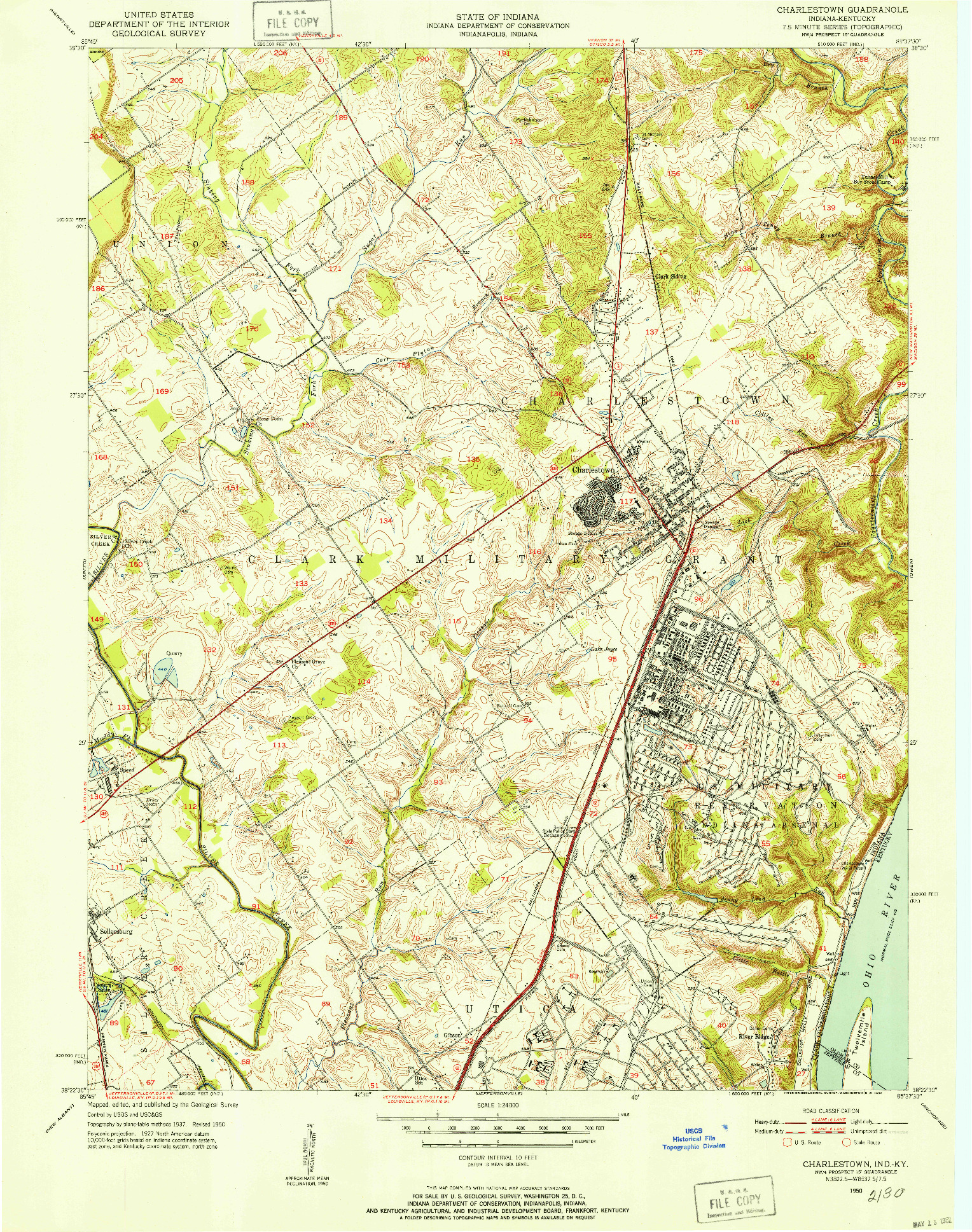 USGS 1:24000-SCALE QUADRANGLE FOR CHARLESTOWN, IN 1950