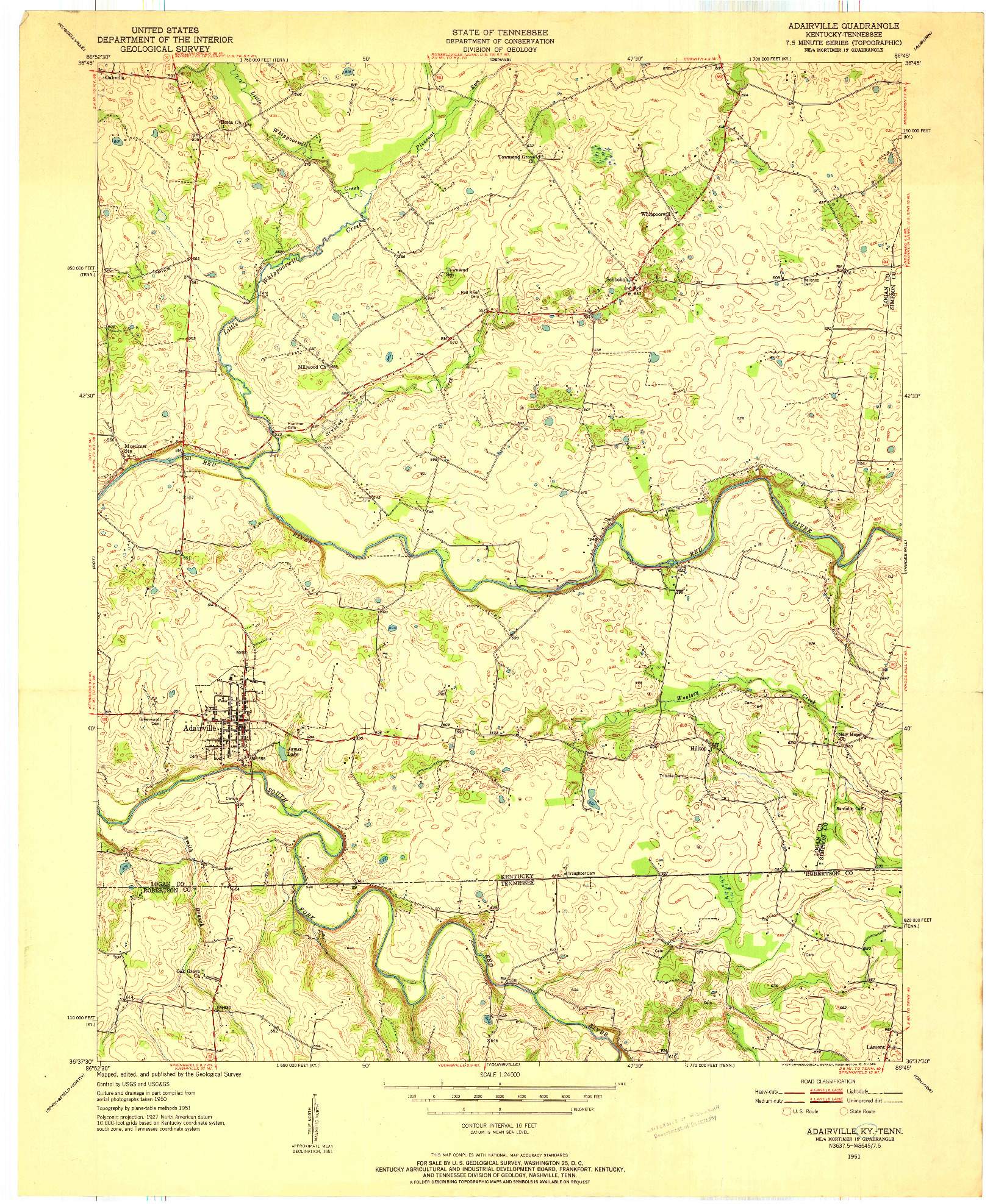 USGS 1:24000-SCALE QUADRANGLE FOR ADAIRVILLE, KY 1951