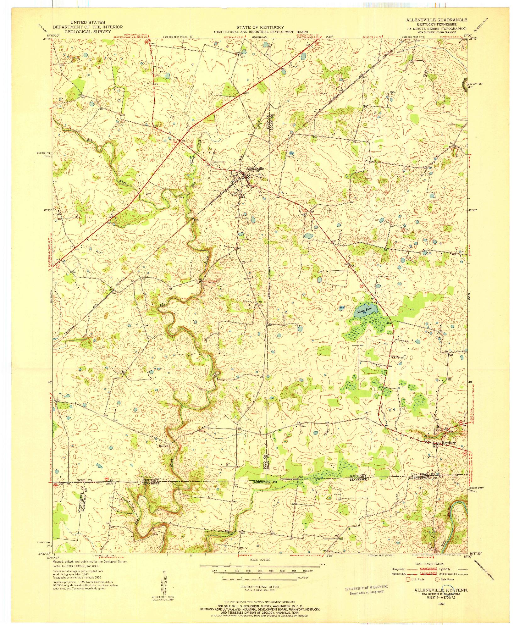 USGS 1:24000-SCALE QUADRANGLE FOR ALLENSVILLE, KY 1950
