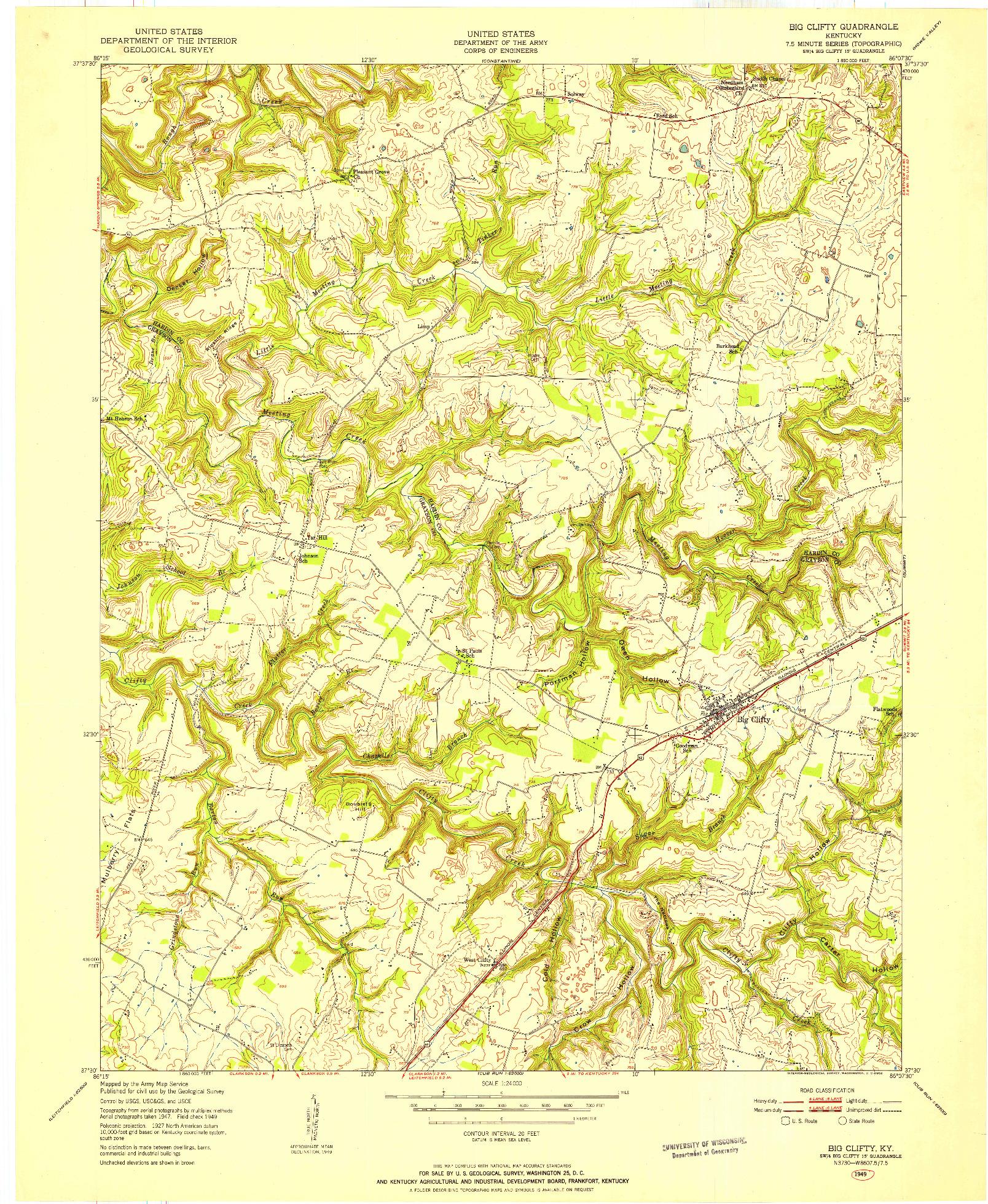 USGS 1:24000-SCALE QUADRANGLE FOR BIG CLIFTY, KY 1949