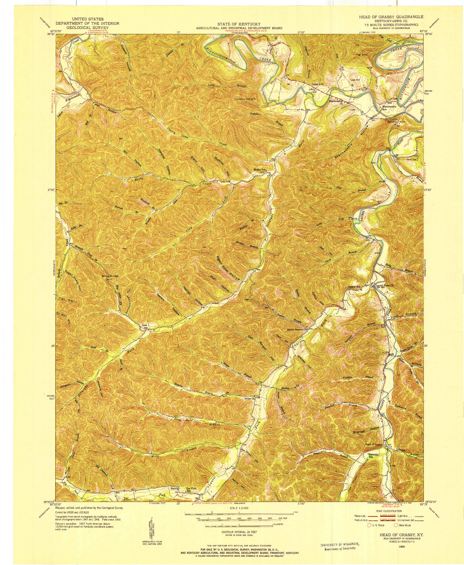USGS 1:24000-SCALE QUADRANGLE FOR HEAD OF GRASSY, KY 1950