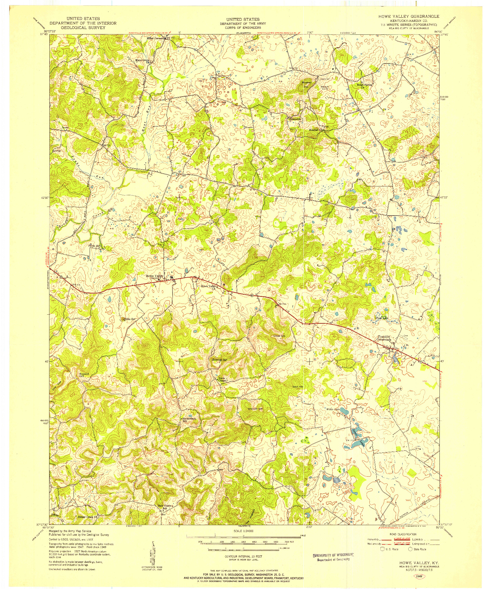 USGS 1:24000-SCALE QUADRANGLE FOR HOWE VALLEY, KY 1949