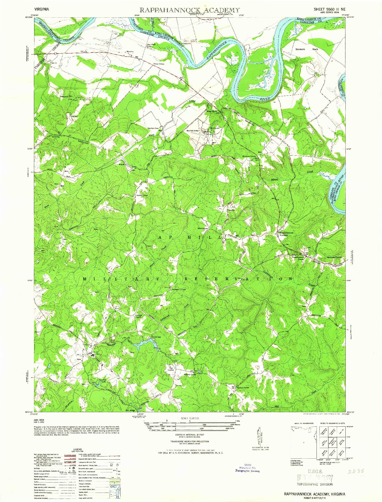 USGS 1:24000-SCALE QUADRANGLE FOR RAPPAHANNOCK ACADEMY, VA 1952