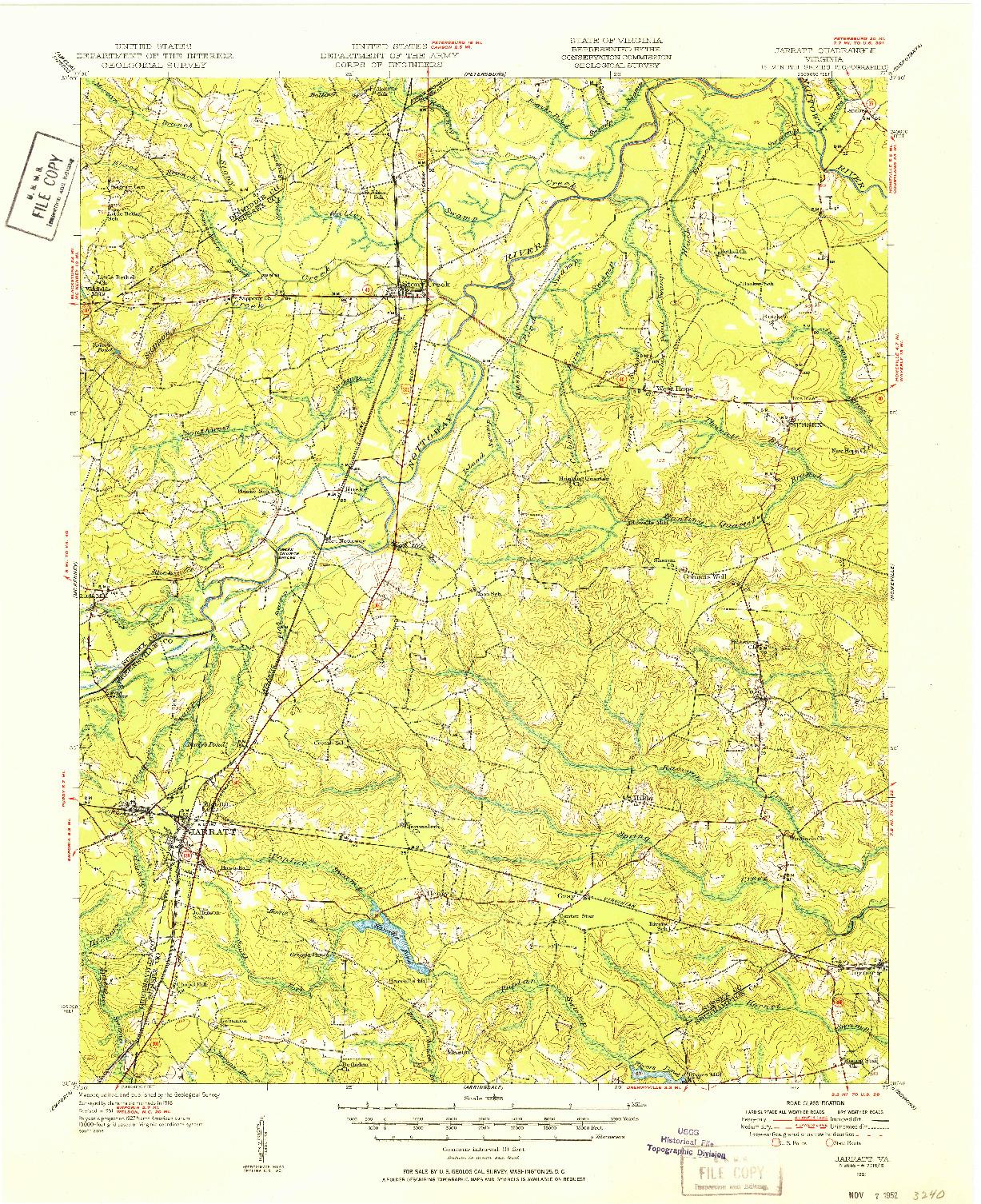 USGS 1:62500-SCALE QUADRANGLE FOR JARRATT, VA 1951