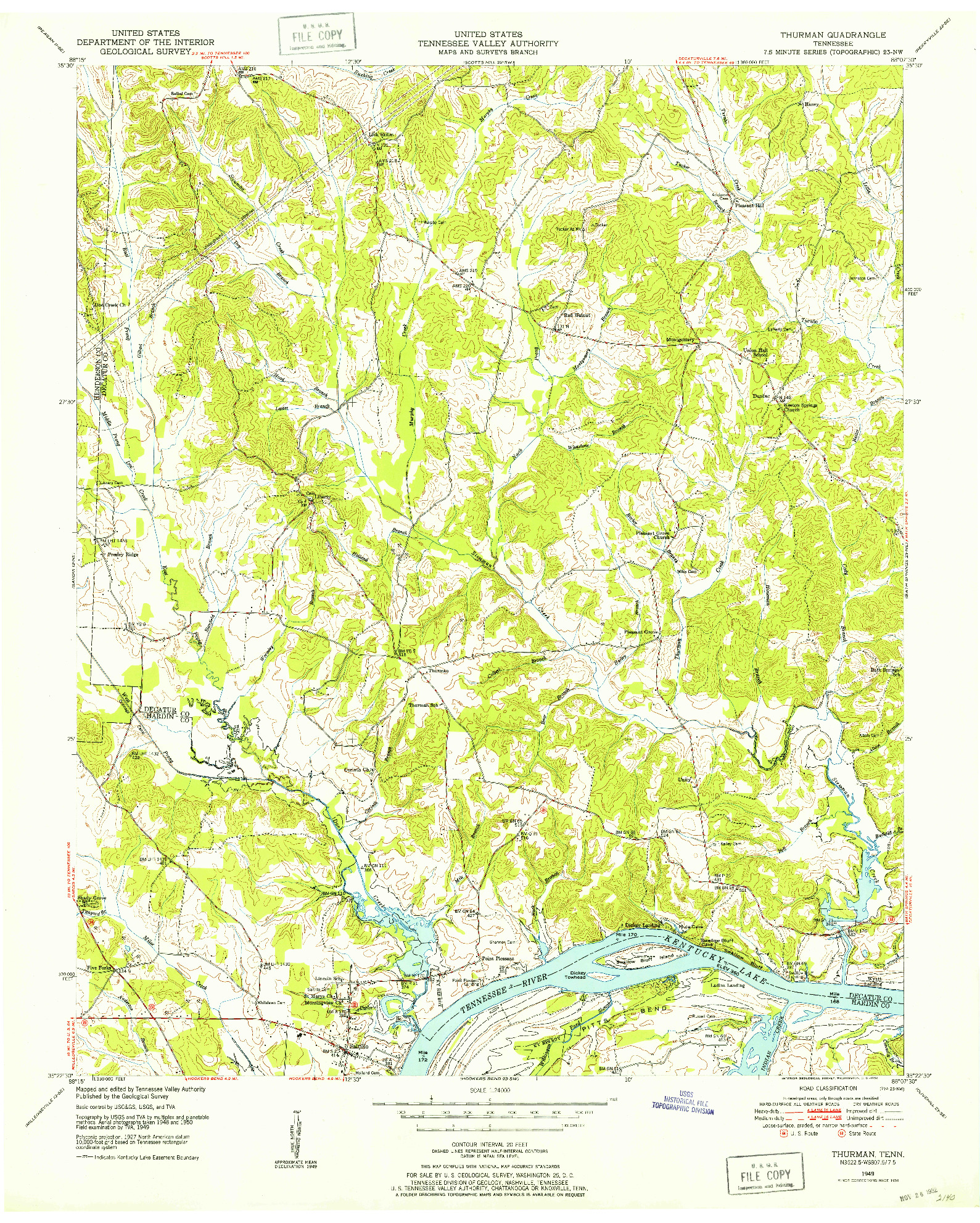 USGS 1:24000-SCALE QUADRANGLE FOR THURMAN, TN 1949