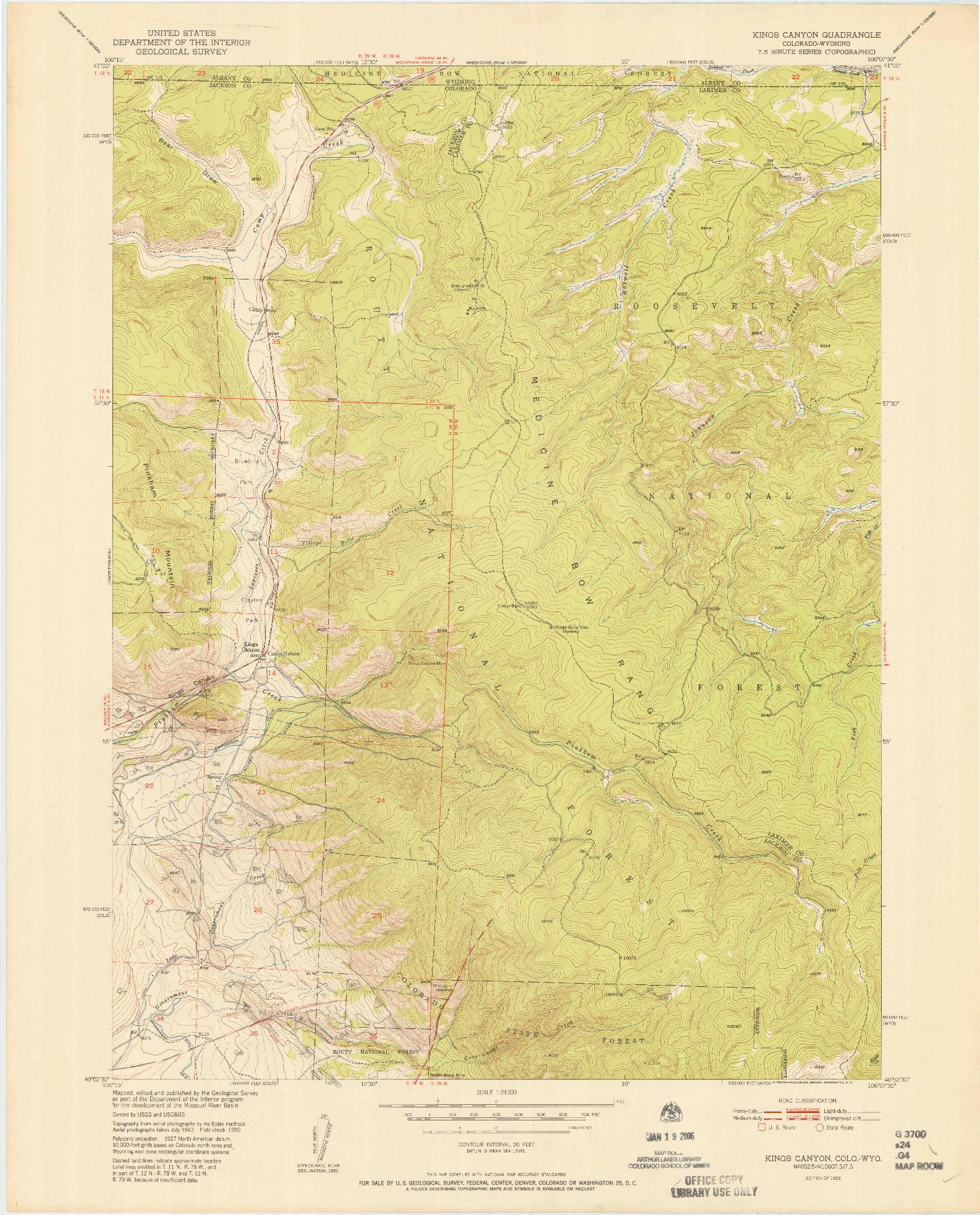 USGS 1:24000-SCALE QUADRANGLE FOR KINGS CANYON, CO 1952