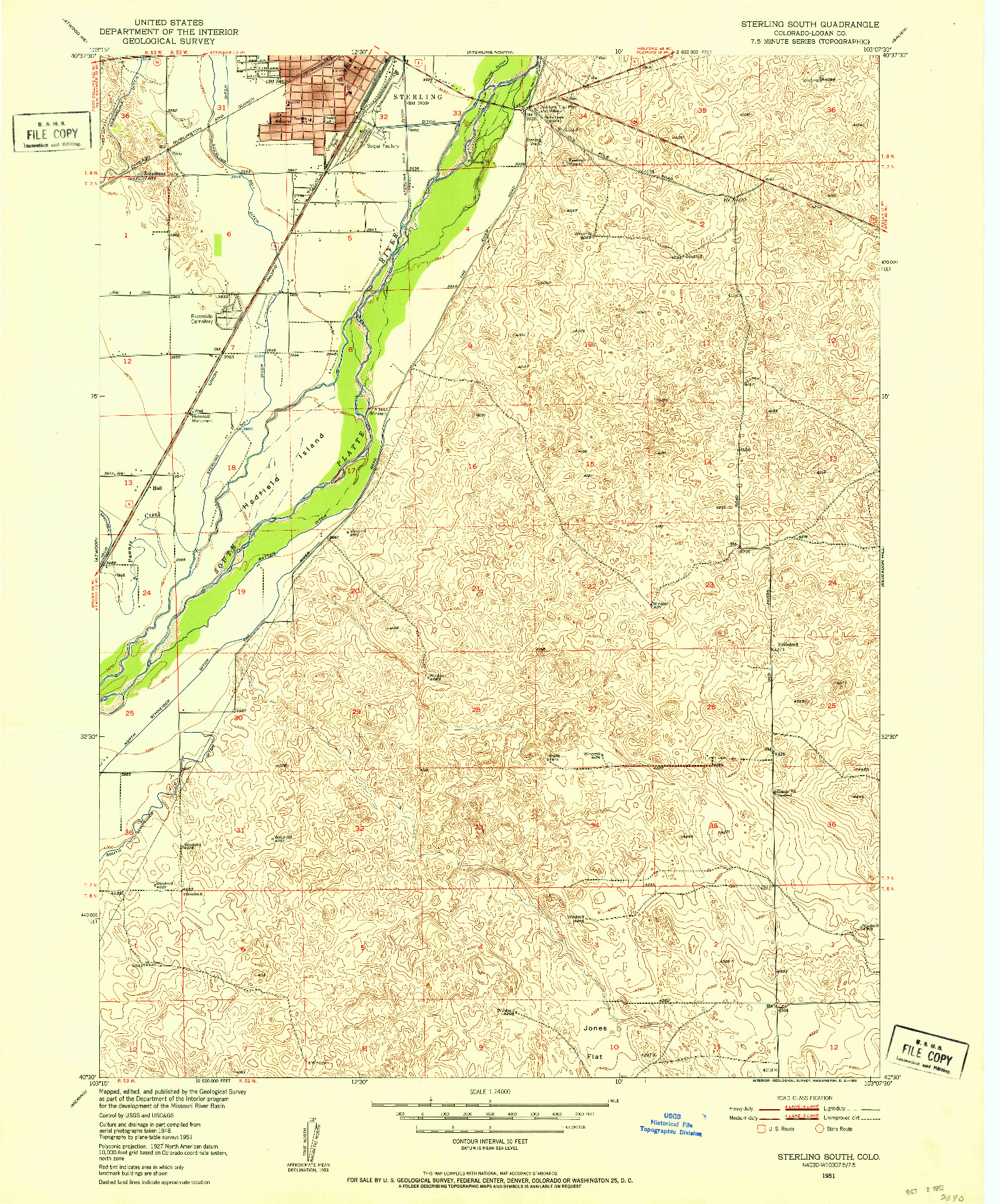 USGS 1:24000-SCALE QUADRANGLE FOR STERLING SOUTH, CO 1951