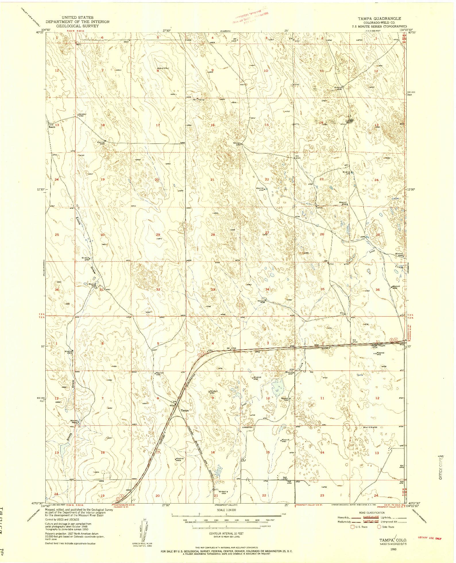 USGS 1:24000-SCALE QUADRANGLE FOR TAMPA, CO 1950