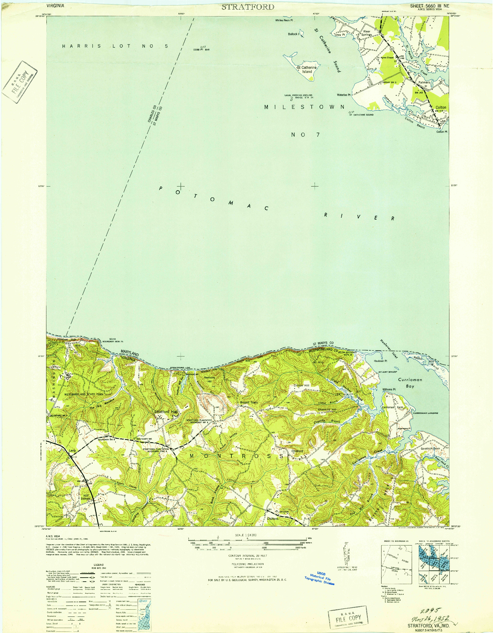 USGS 1:24000-SCALE QUADRANGLE FOR STRATFORD, MD 1946