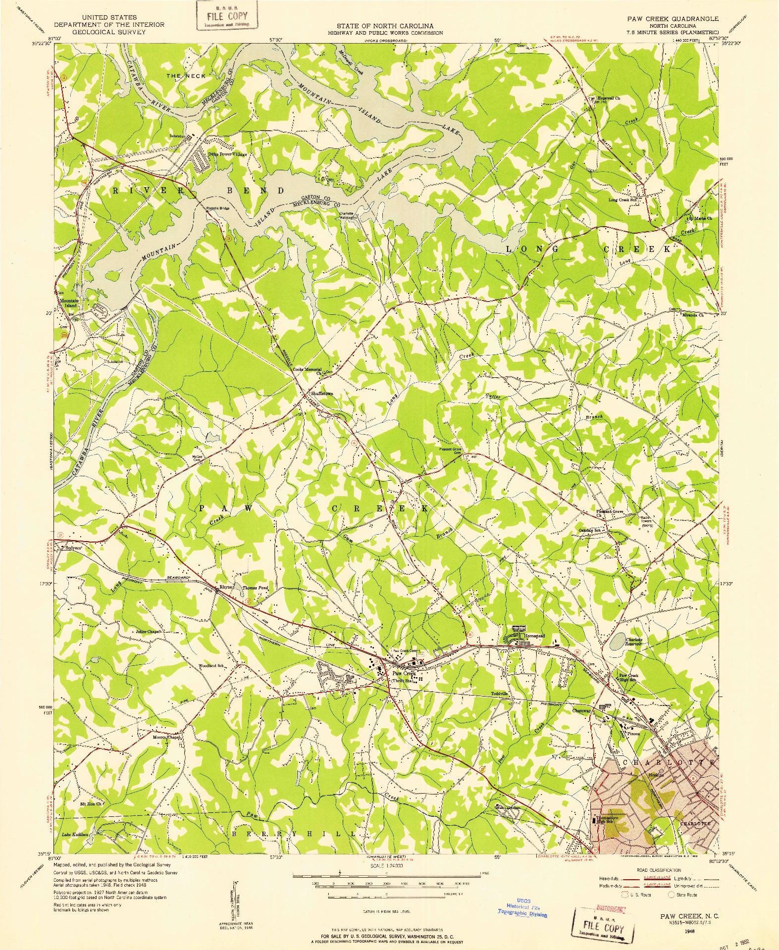 USGS 1:24000-SCALE QUADRANGLE FOR PAW CREEK, NC 1948