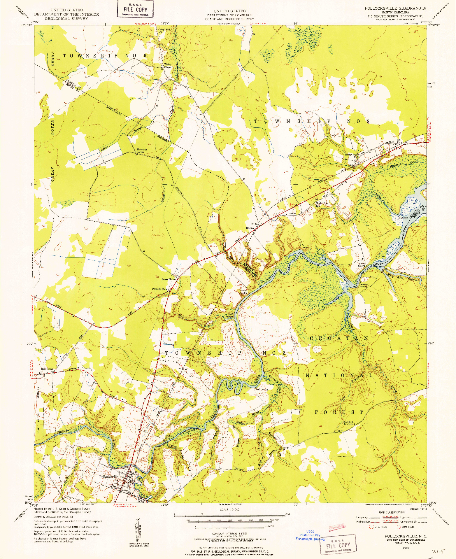 USGS 1:24000-SCALE QUADRANGLE FOR POLLOCKSVILLE, NC 1950