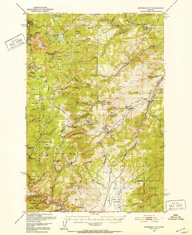 USGS 1:62500-SCALE QUADRANGLE FOR JEFFERSON CITY, MT 1950
