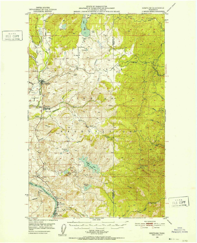 USGS 1:62500-SCALE QUADRANGLE FOR NESPELEM, WA 1950