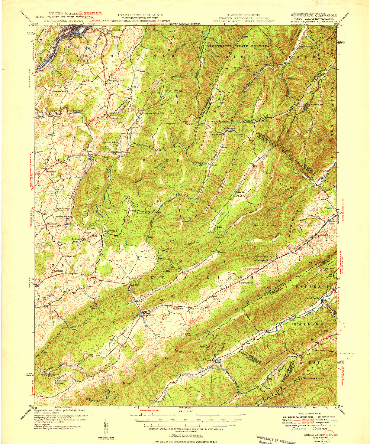 USGS 1:62500-SCALE QUADRANGLE FOR RONCEVERTE, WV 1952