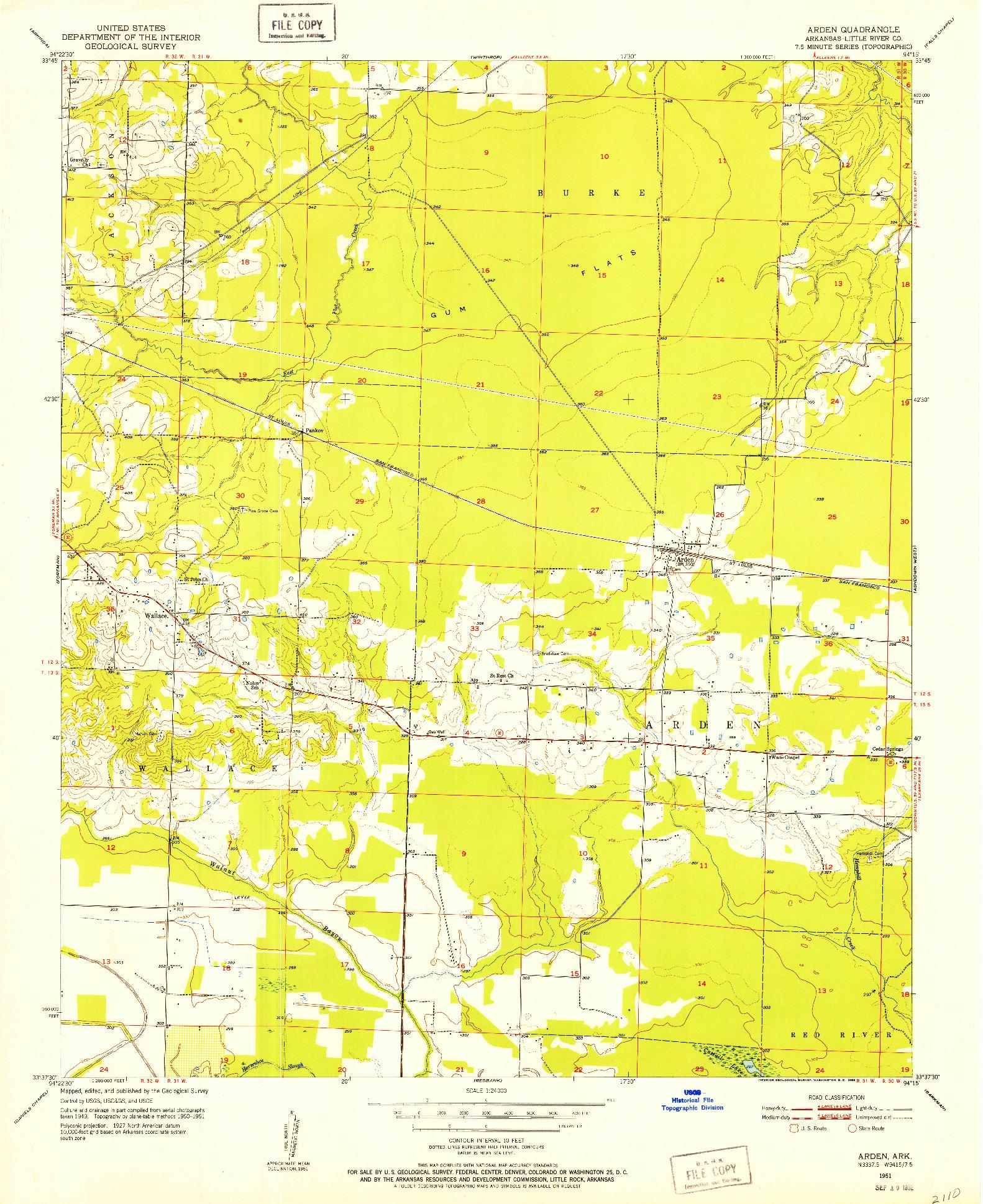 USGS 1:24000-SCALE QUADRANGLE FOR ARDEN, AR 1951