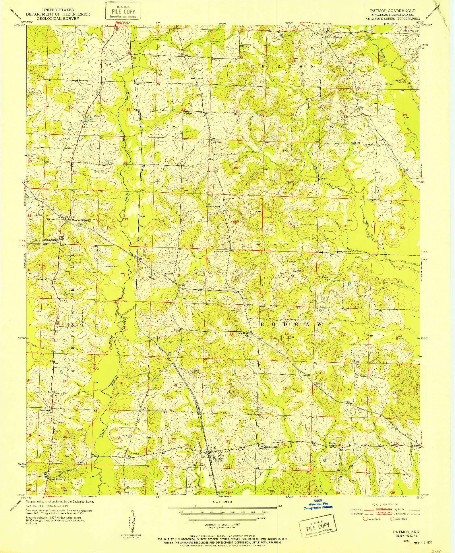 USGS 1:24000-SCALE QUADRANGLE FOR PATMOS, AR 1951