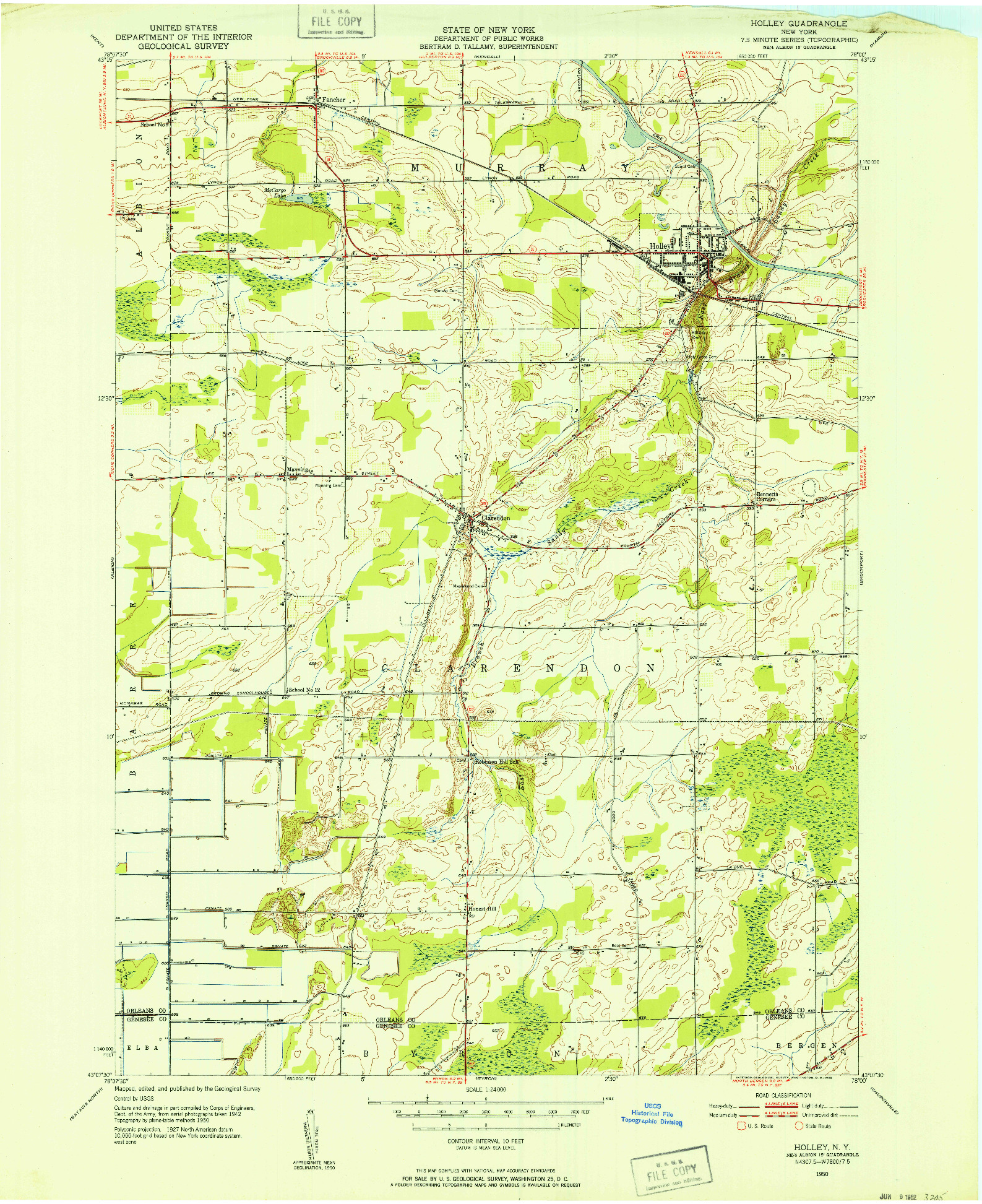 USGS 1:24000-SCALE QUADRANGLE FOR HOLLEY, NY 1950