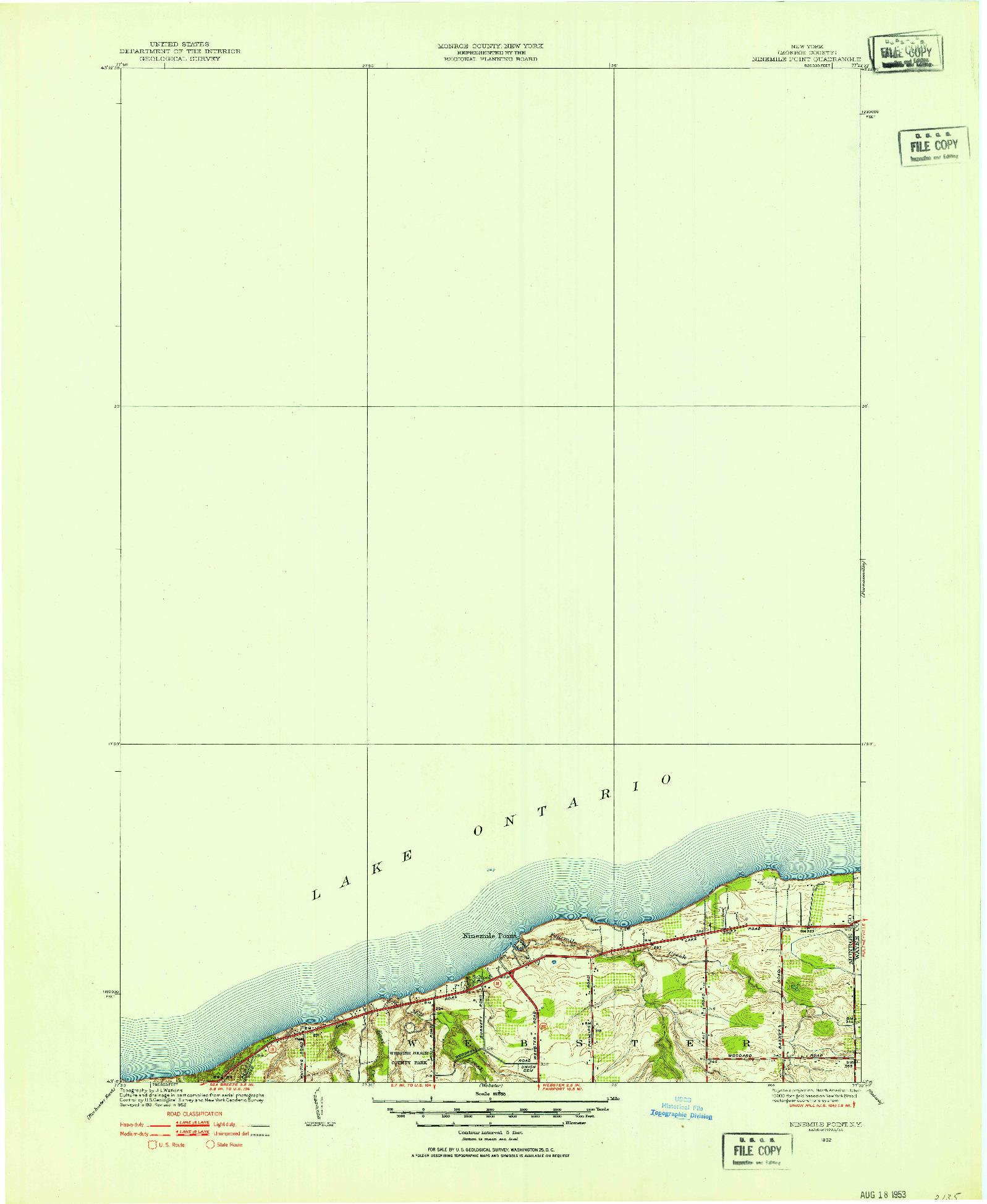 USGS 1:24000-SCALE QUADRANGLE FOR NINEMILE POINT, NY 1952
