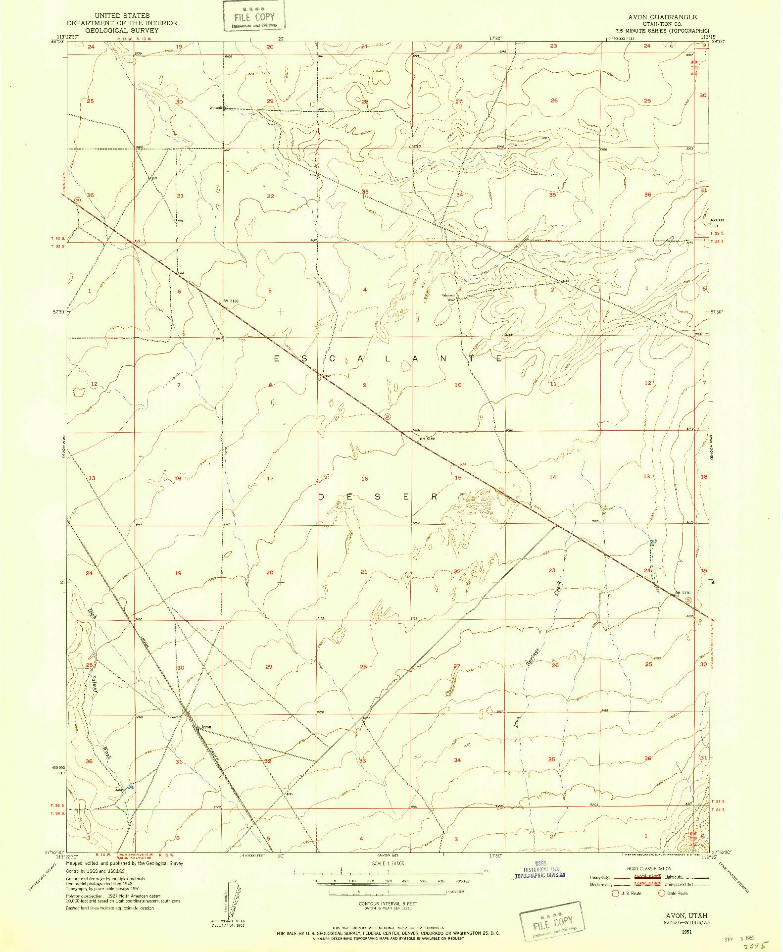 USGS 1:24000-SCALE QUADRANGLE FOR AVON, UT 1951