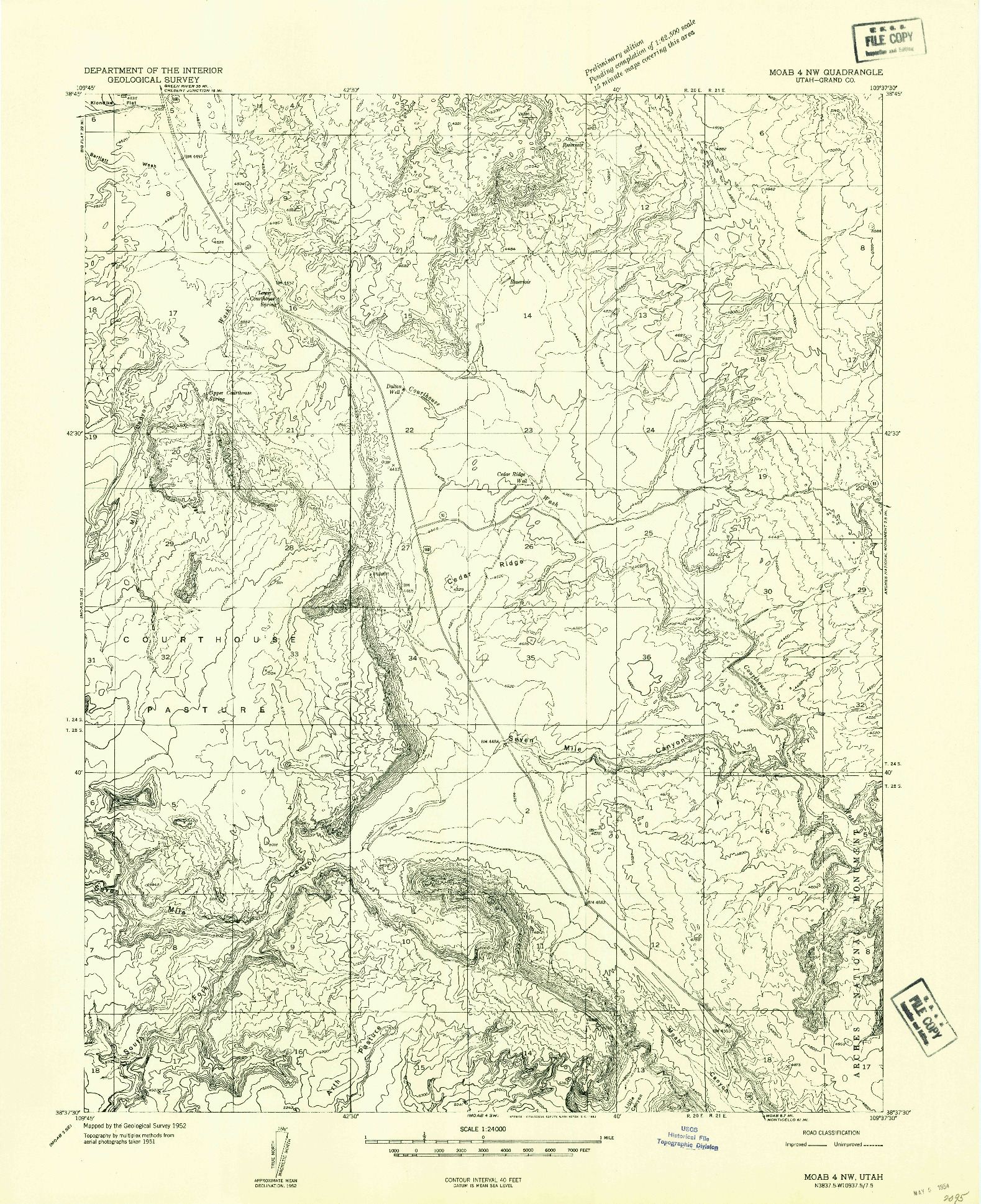 USGS 1:24000-SCALE QUADRANGLE FOR MOAB 4 NW, UT 1952