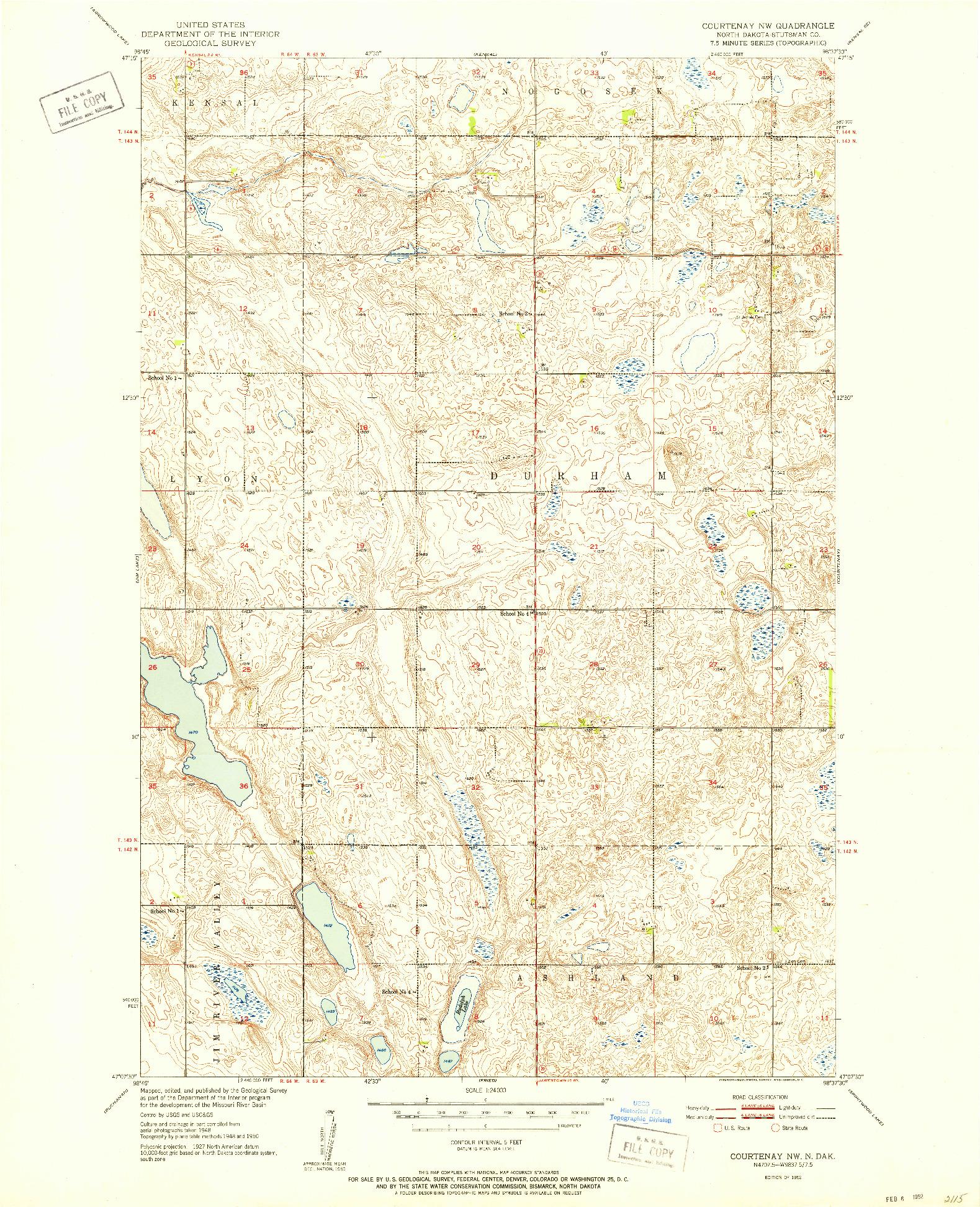 USGS 1:24000-SCALE QUADRANGLE FOR COURTENAY NW, ND 1952