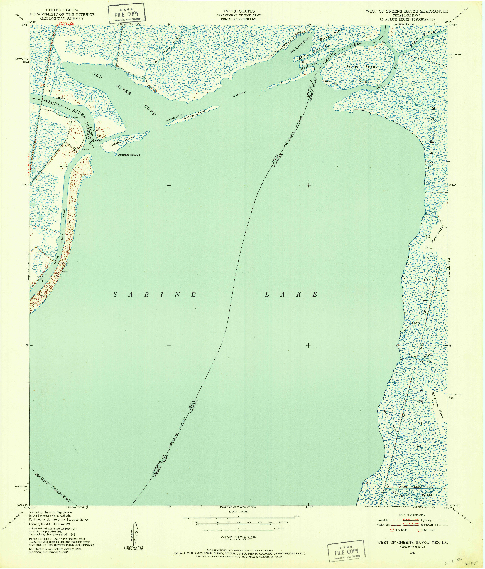 USGS 1:24000-SCALE QUADRANGLE FOR WEST OF GREENS BAYOU, TX 1943