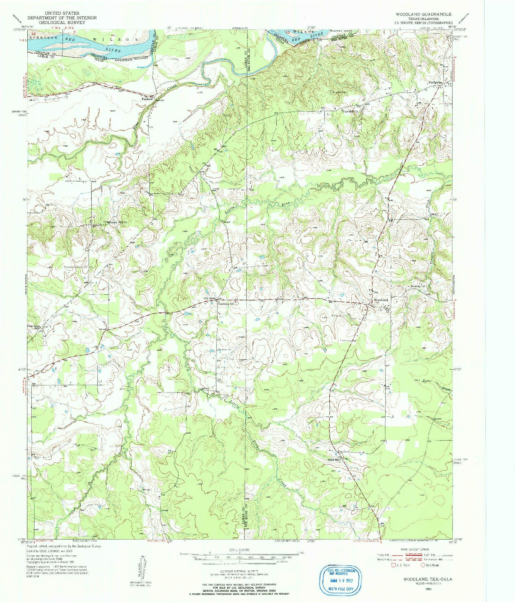 USGS 1:24000-SCALE QUADRANGLE FOR WOODLAND, TX 1951