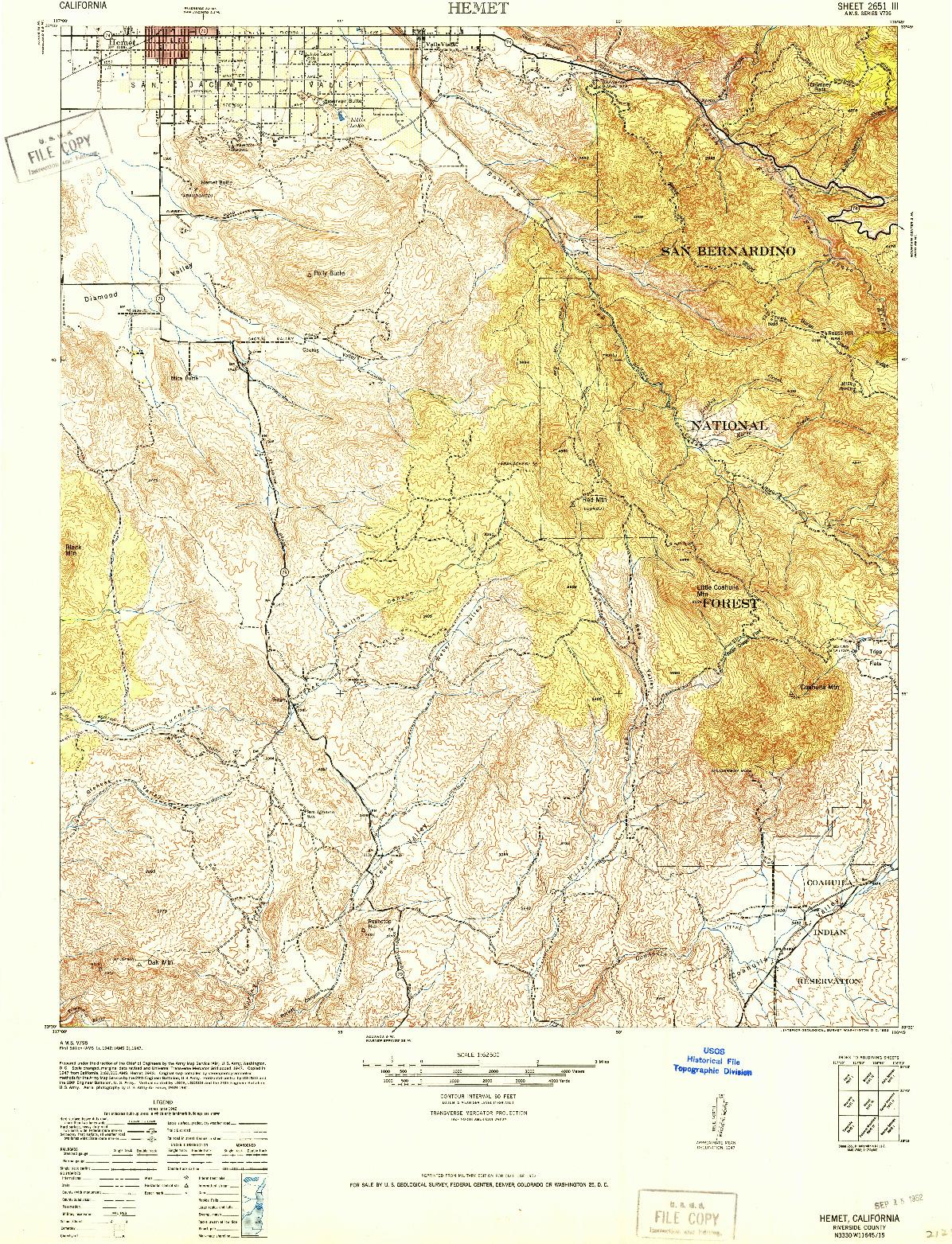 USGS 1:62500-SCALE QUADRANGLE FOR HEMET, CA 1942