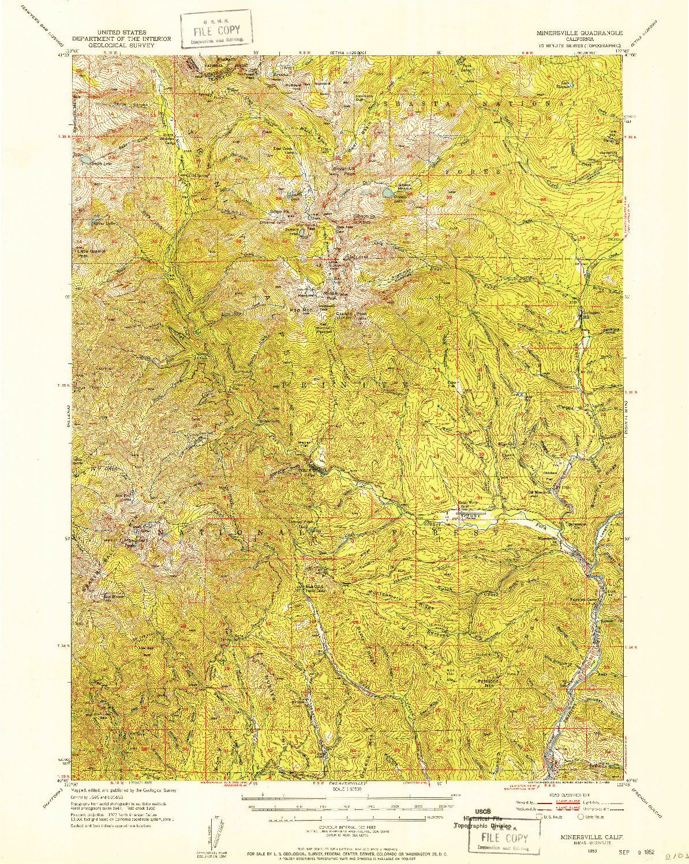 USGS 1:62500-SCALE QUADRANGLE FOR MINERSVILLE, CA 1950