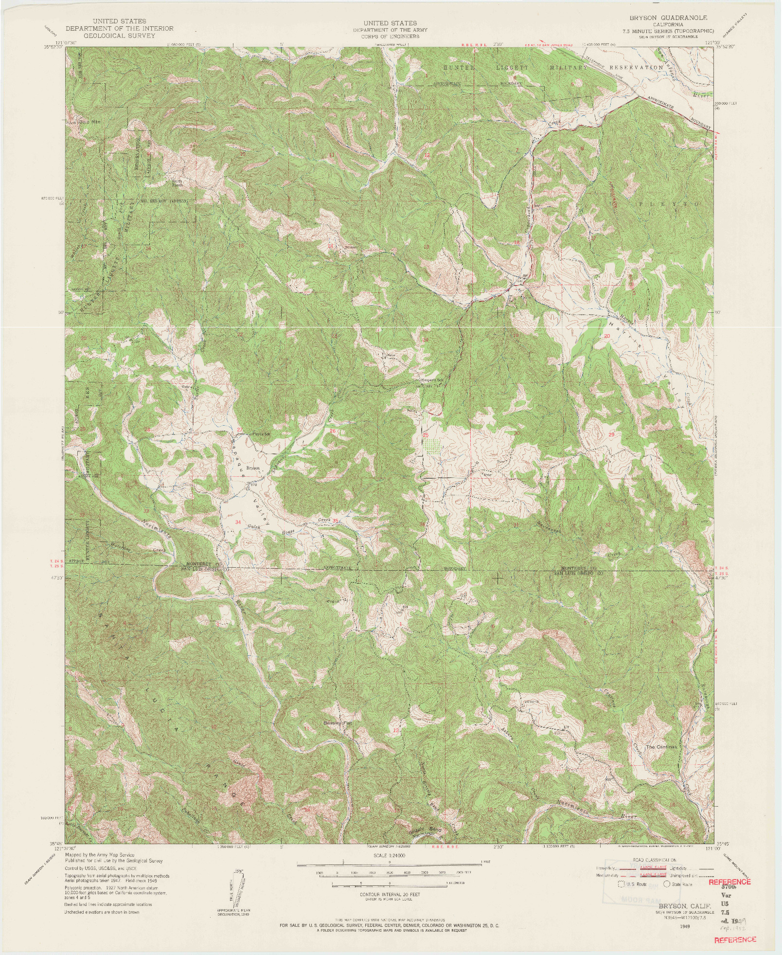 USGS 1:24000-SCALE QUADRANGLE FOR BRYSON, CA 1949