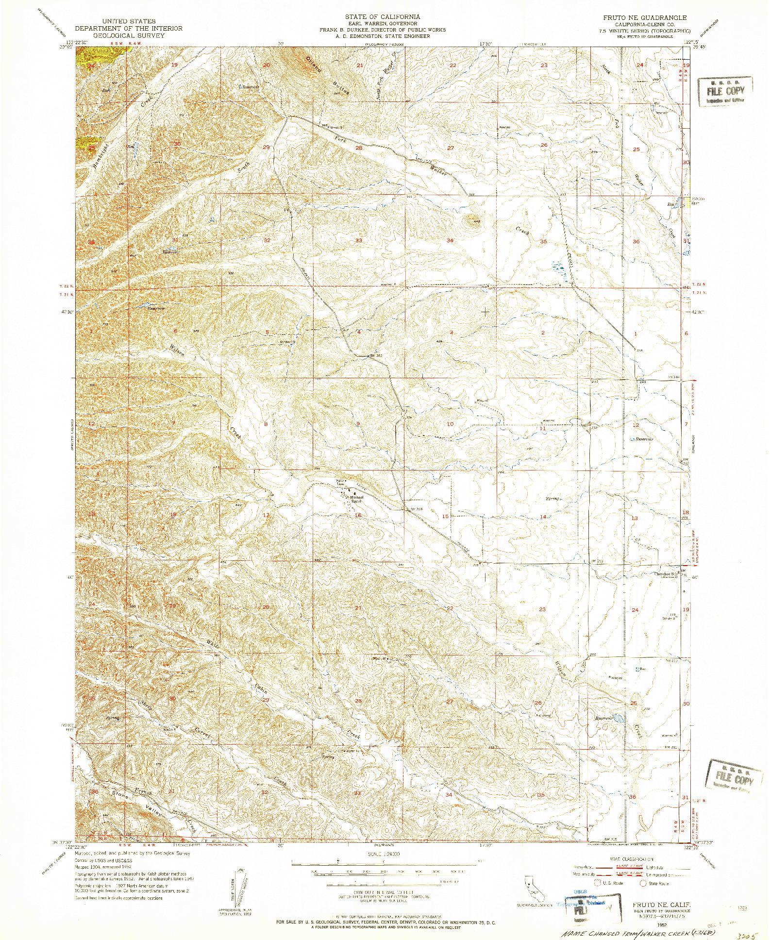 USGS 1:24000-SCALE QUADRANGLE FOR FRUTO NE, CA 1952