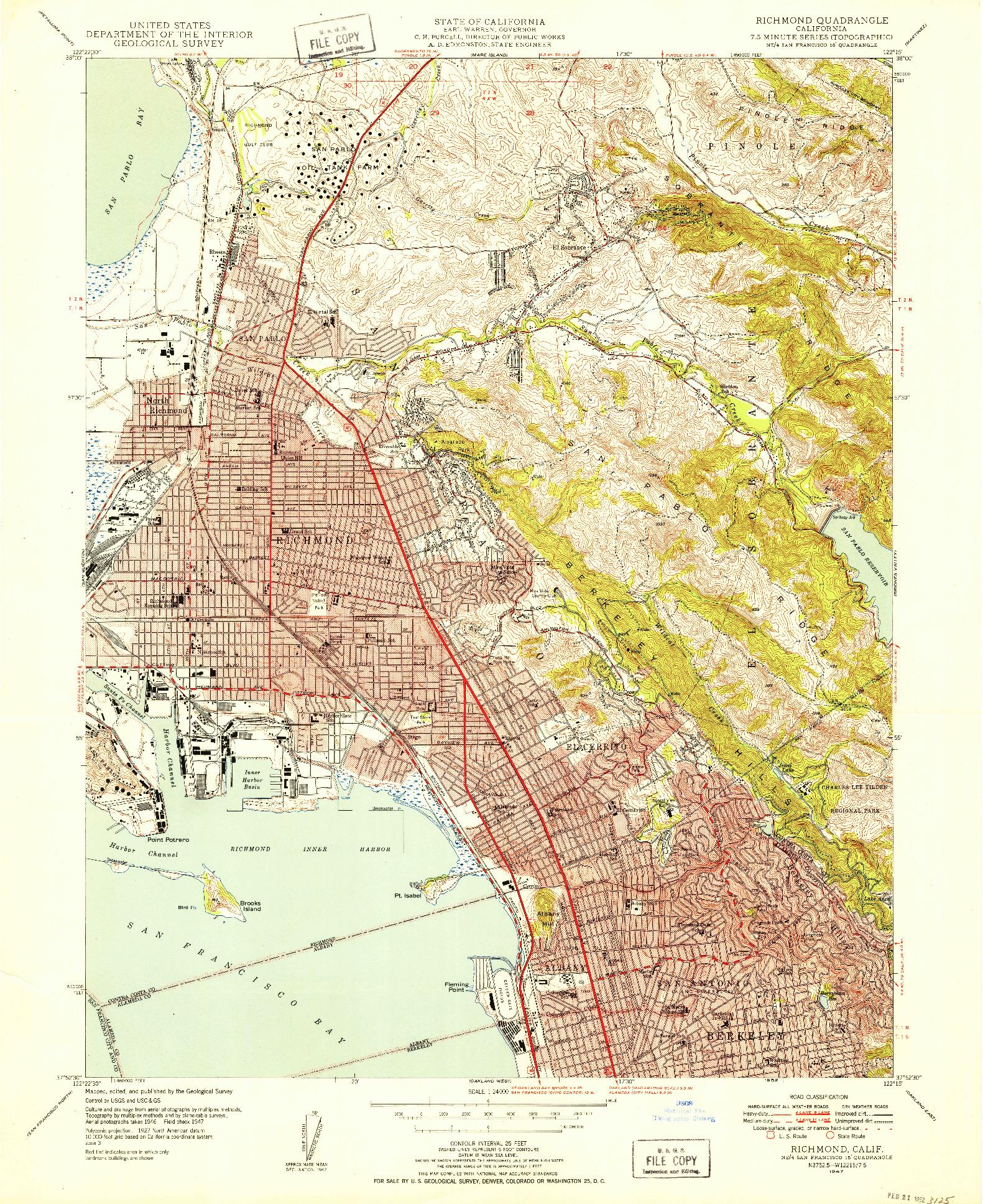 USGS 1:24000-SCALE QUADRANGLE FOR RICHMOND, CA 1947