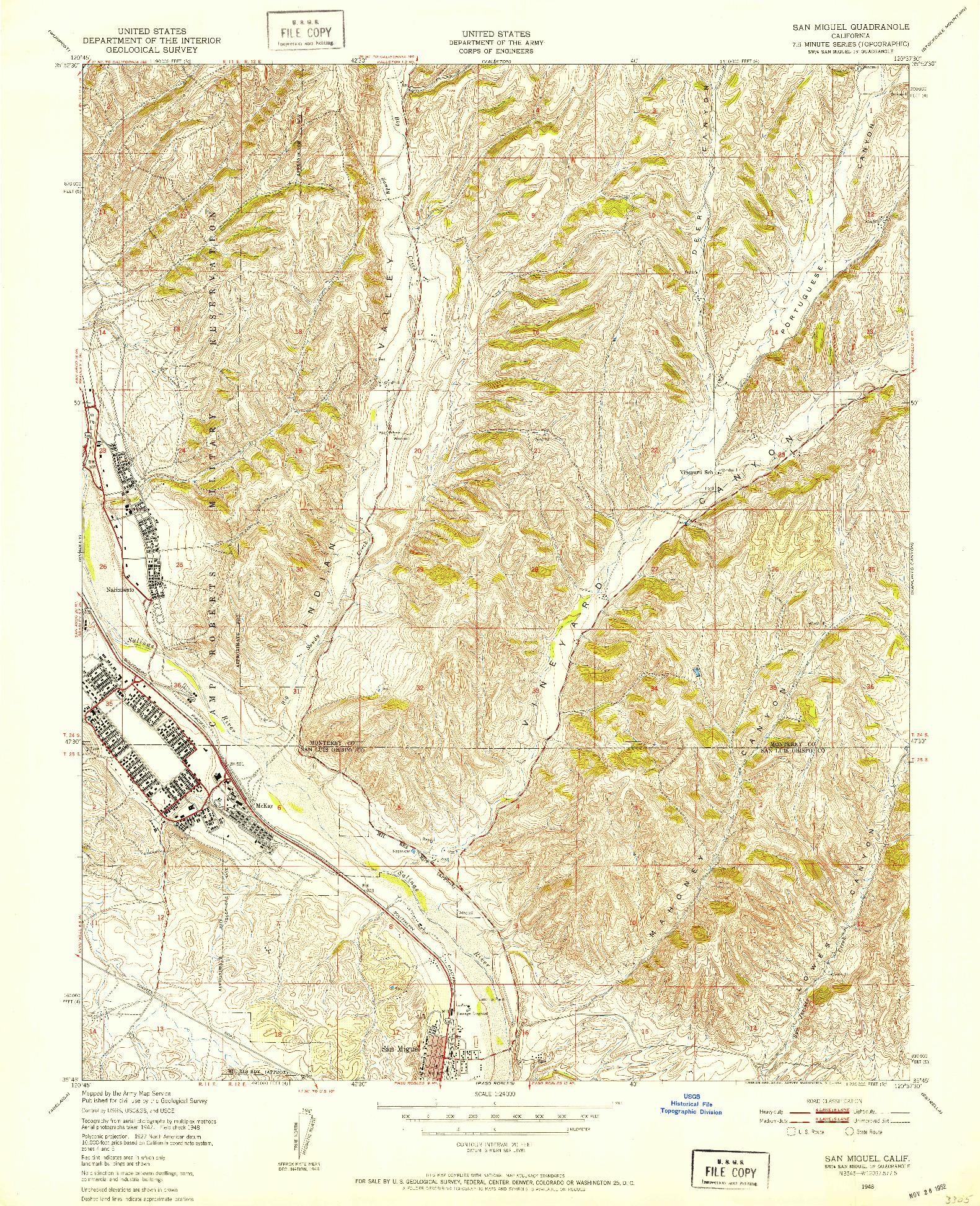 USGS 1:24000-SCALE QUADRANGLE FOR SAN MIGUEL, CA 1948