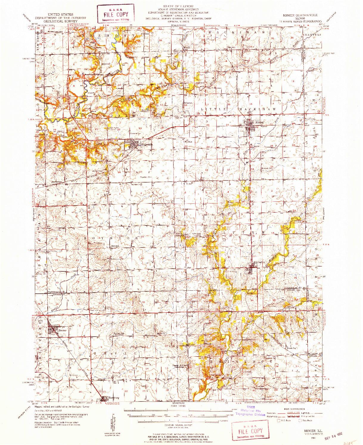 USGS 1:62500-SCALE QUADRANGLE FOR MINIER, IL 1951
