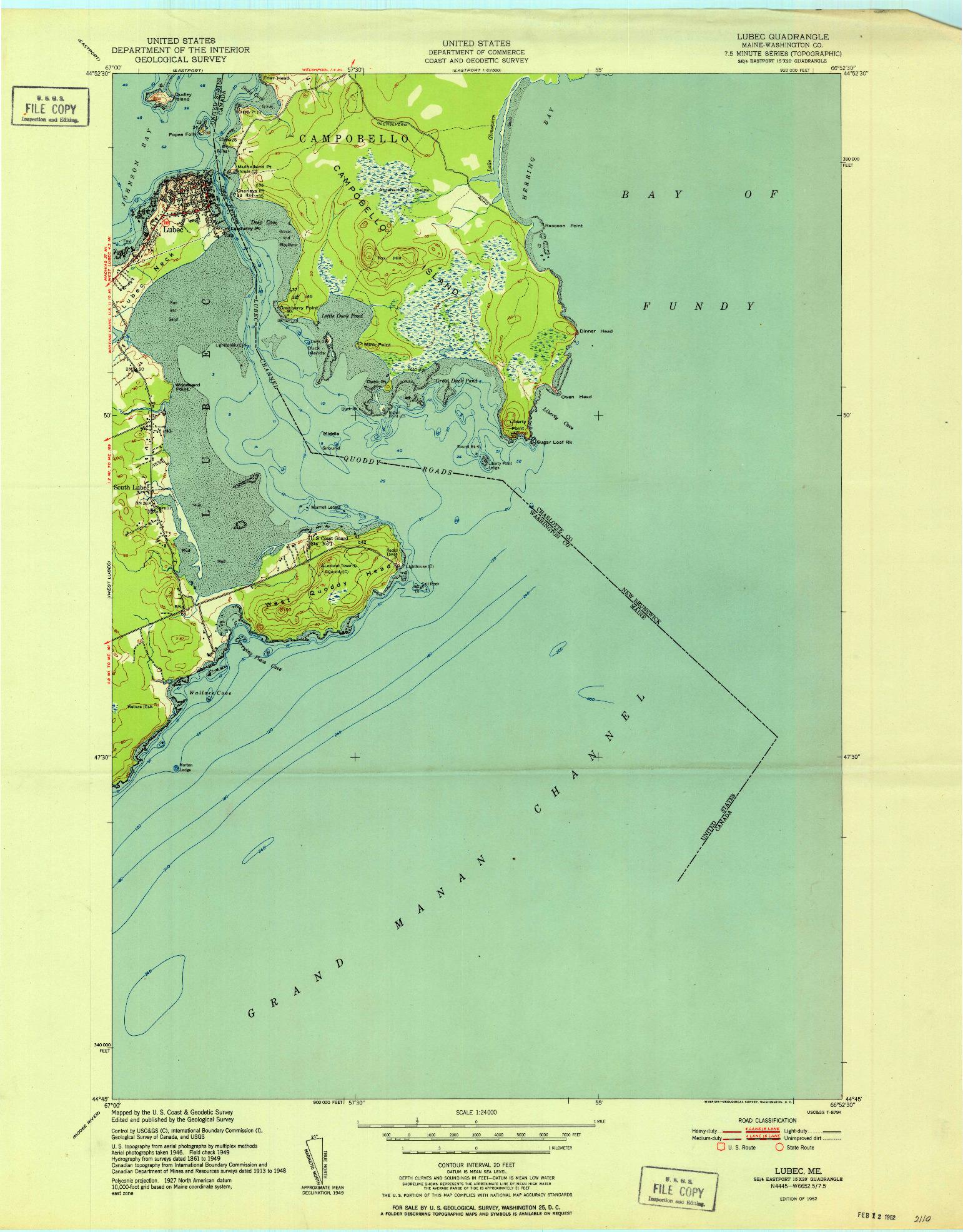 USGS 1:24000-SCALE QUADRANGLE FOR LUBEC, ME 1952
