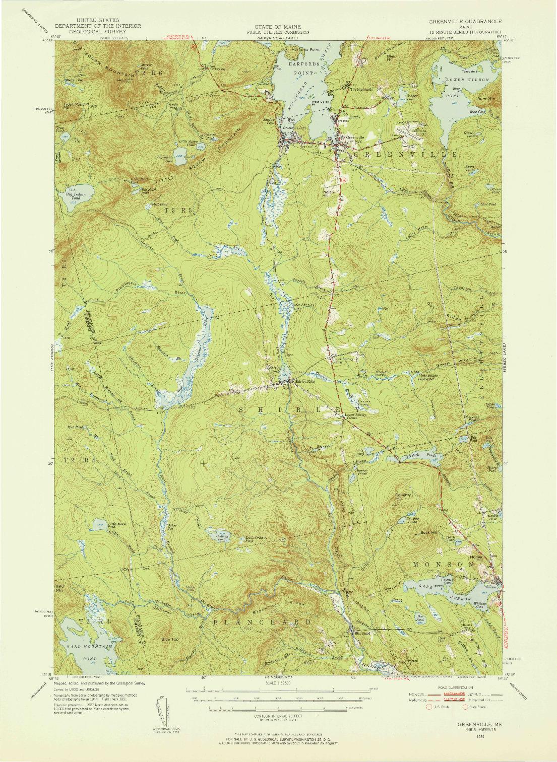 USGS 1:62500-SCALE QUADRANGLE FOR GREENVILLE, ME 1951
