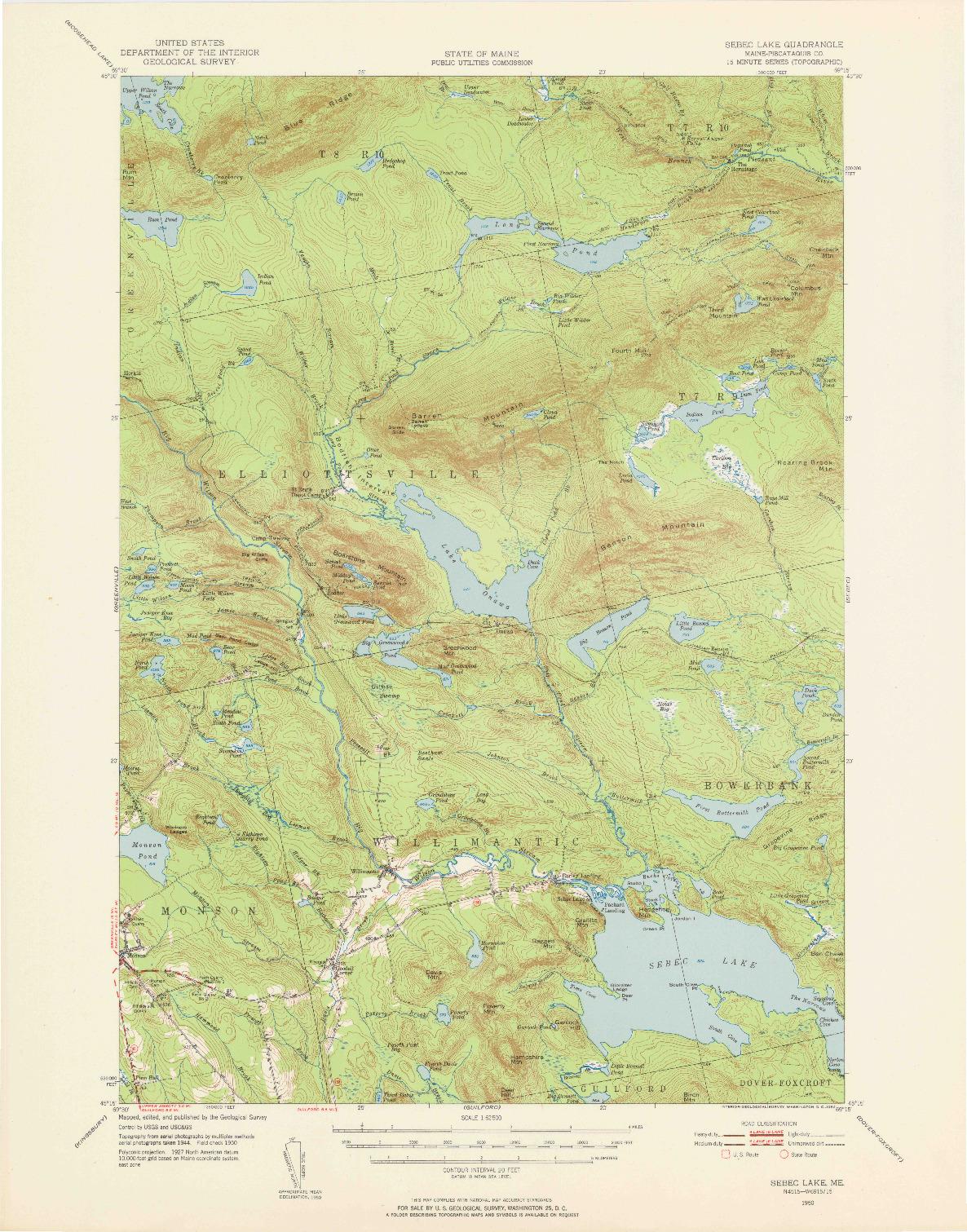 USGS 1:62500-SCALE QUADRANGLE FOR SEBEC LAKE, ME 1950