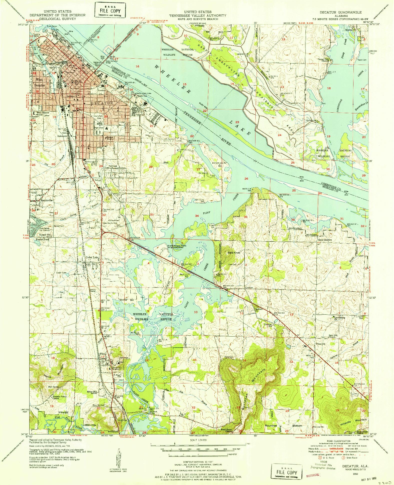 USGS 1:24000-SCALE QUADRANGLE FOR DECATUR, AL 1950