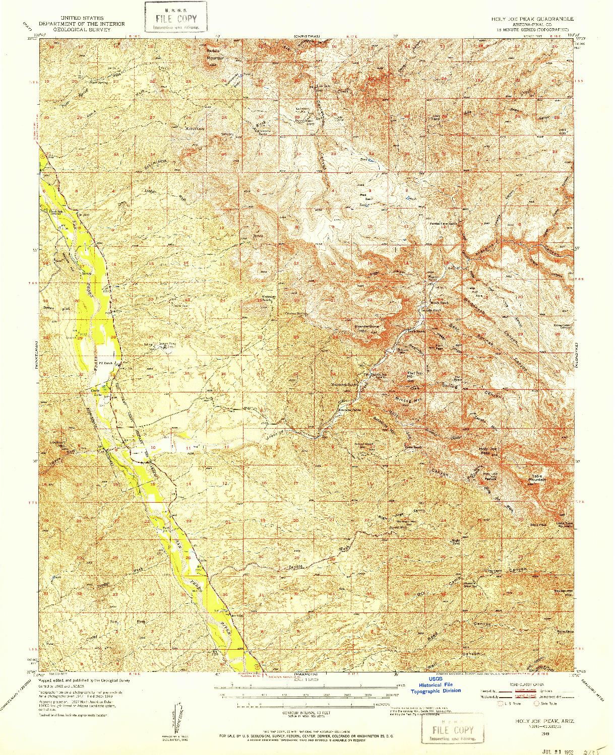 USGS 1:62500-SCALE QUADRANGLE FOR HOLY JOE PEAK, AZ 1949