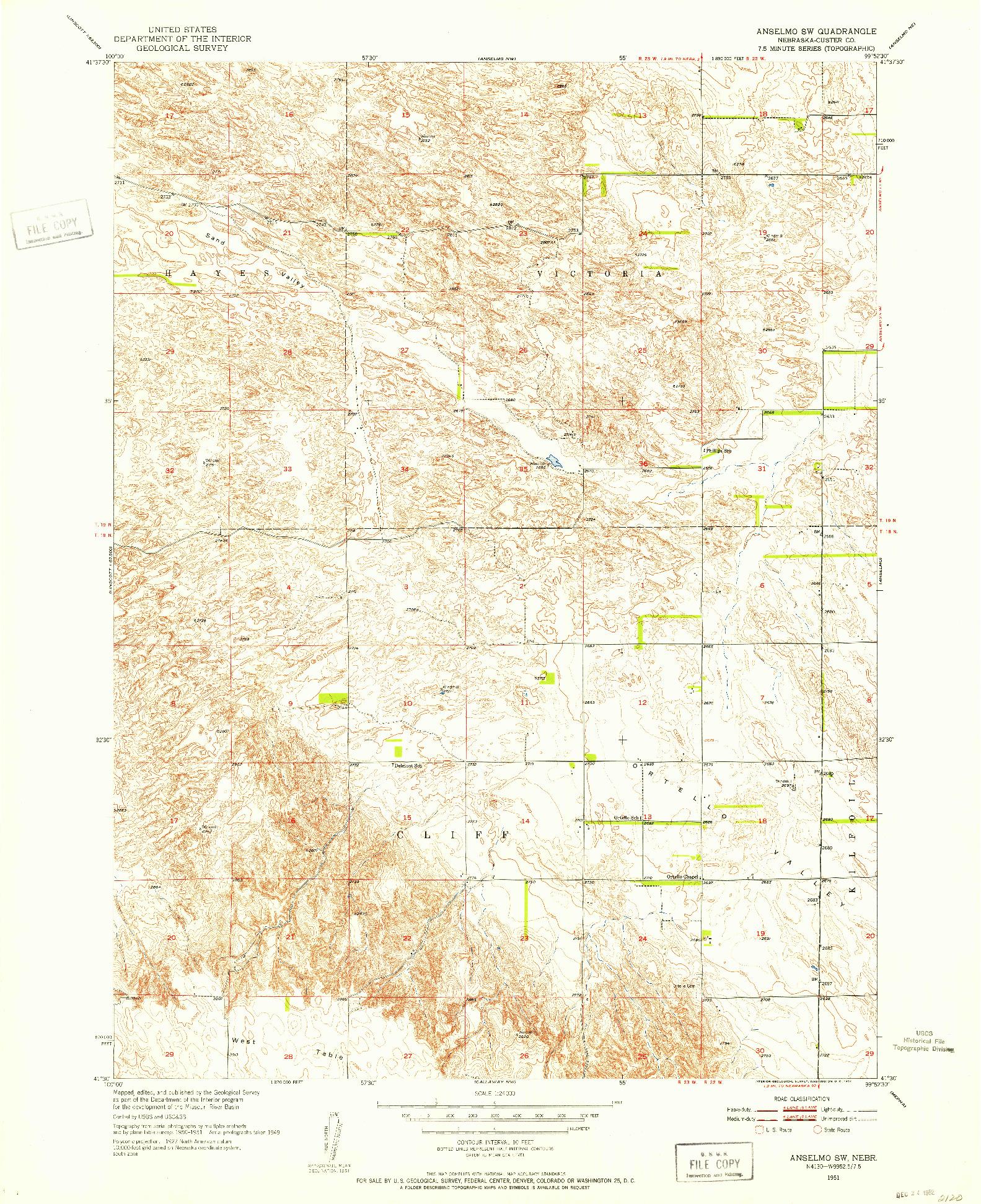 USGS 1:24000-SCALE QUADRANGLE FOR ANSELMO SW, NE 1951