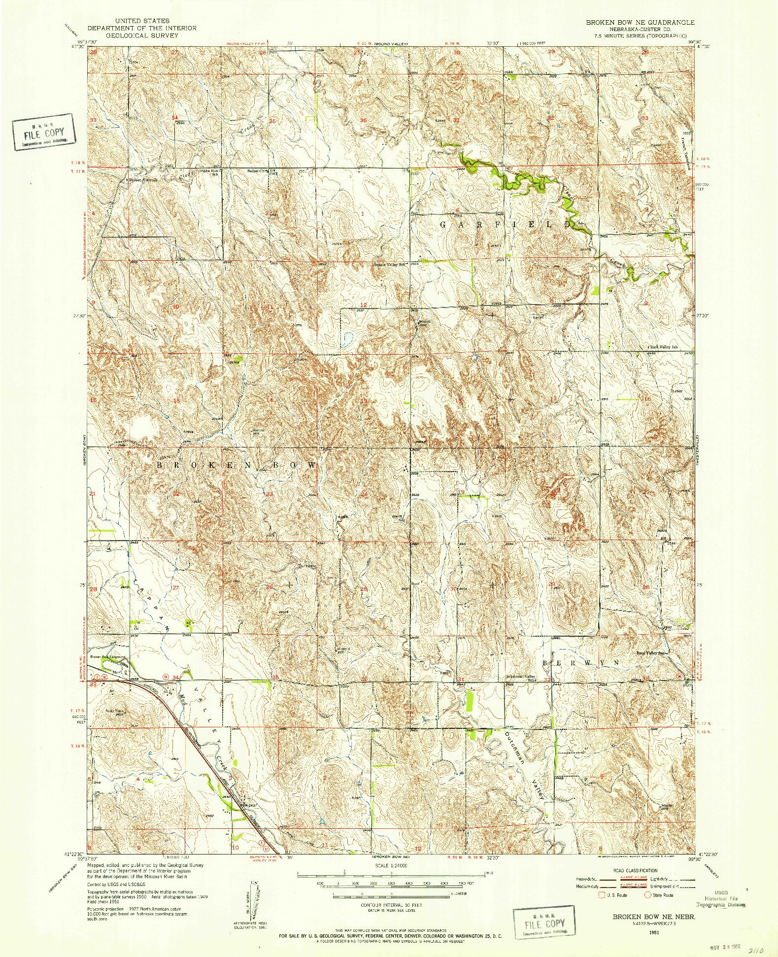 USGS 1:24000-SCALE QUADRANGLE FOR BROKEN BOW NE, NE 1951