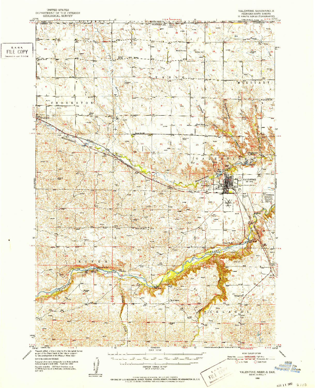 USGS 1:62500-SCALE QUADRANGLE FOR VALENTINE, NE 1950