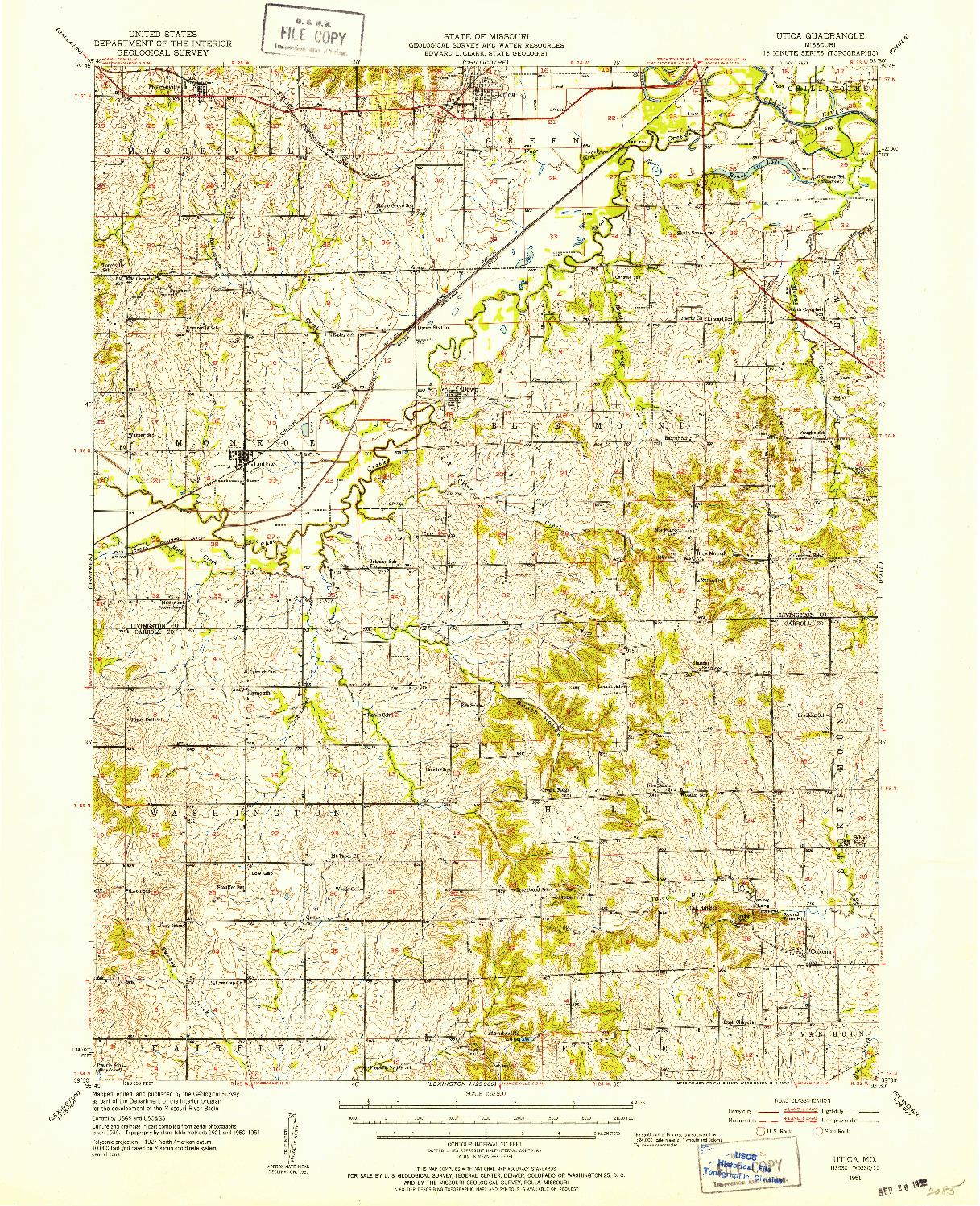 USGS 1:62500-SCALE QUADRANGLE FOR UTICA, MO 1951