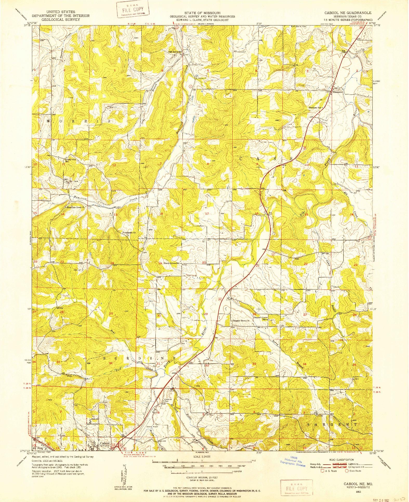 USGS 1:24000-SCALE QUADRANGLE FOR CABOOL NE, MO 1951
