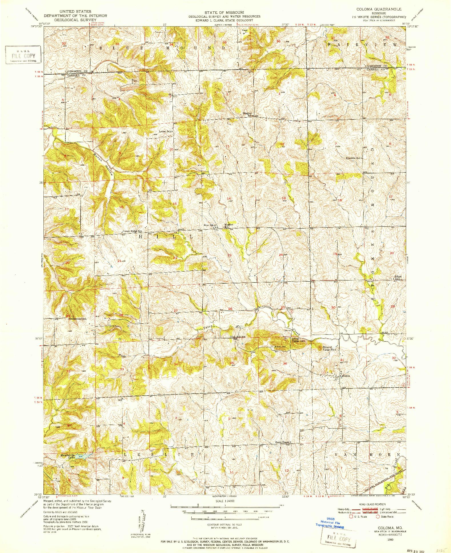 USGS 1:24000-SCALE QUADRANGLE FOR COLOMA, MO 1950