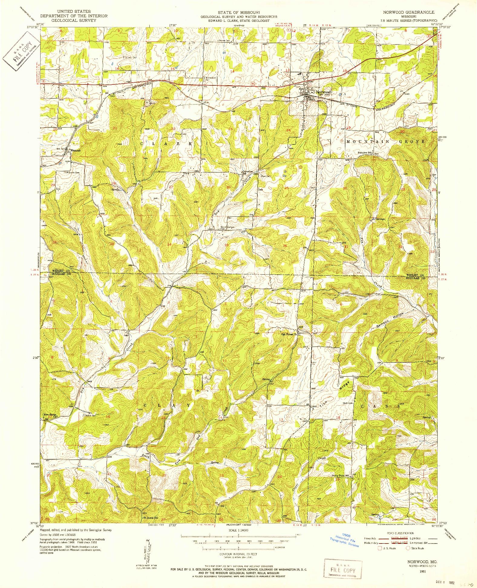 USGS 1:24000-SCALE QUADRANGLE FOR NORWOOD, MO 1951