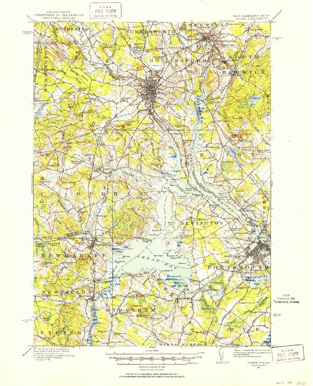 USGS 1:62500-SCALE QUADRANGLE FOR DOVER, NH 1916